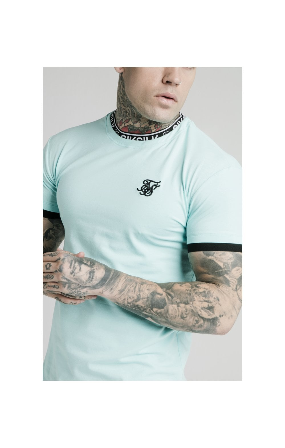 SikSilk S/S Inset Tape Collar Gym Tee - Teal (1)