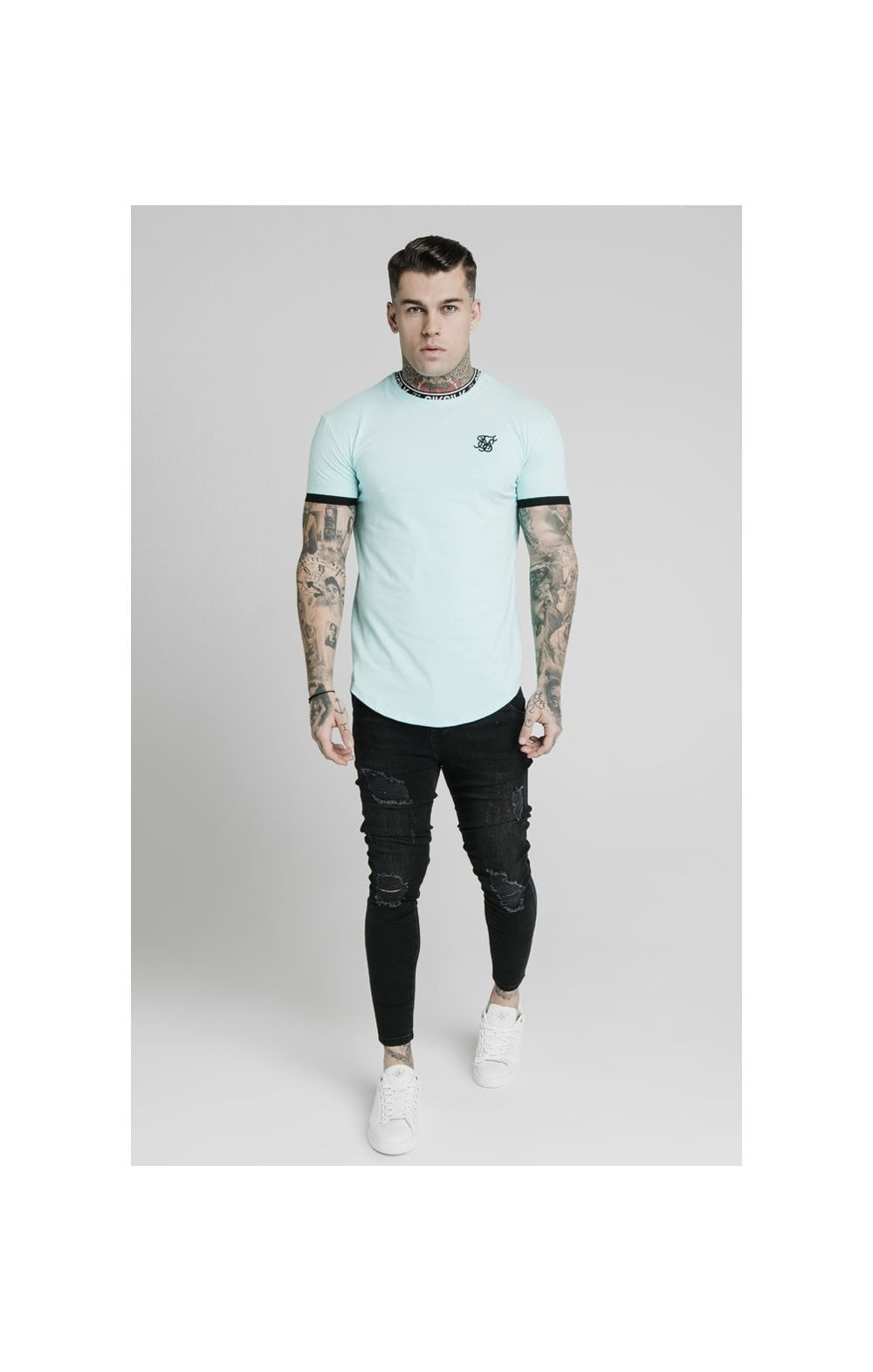 SikSilk S/S Inset Tape Collar Gym Tee - Teal (3)