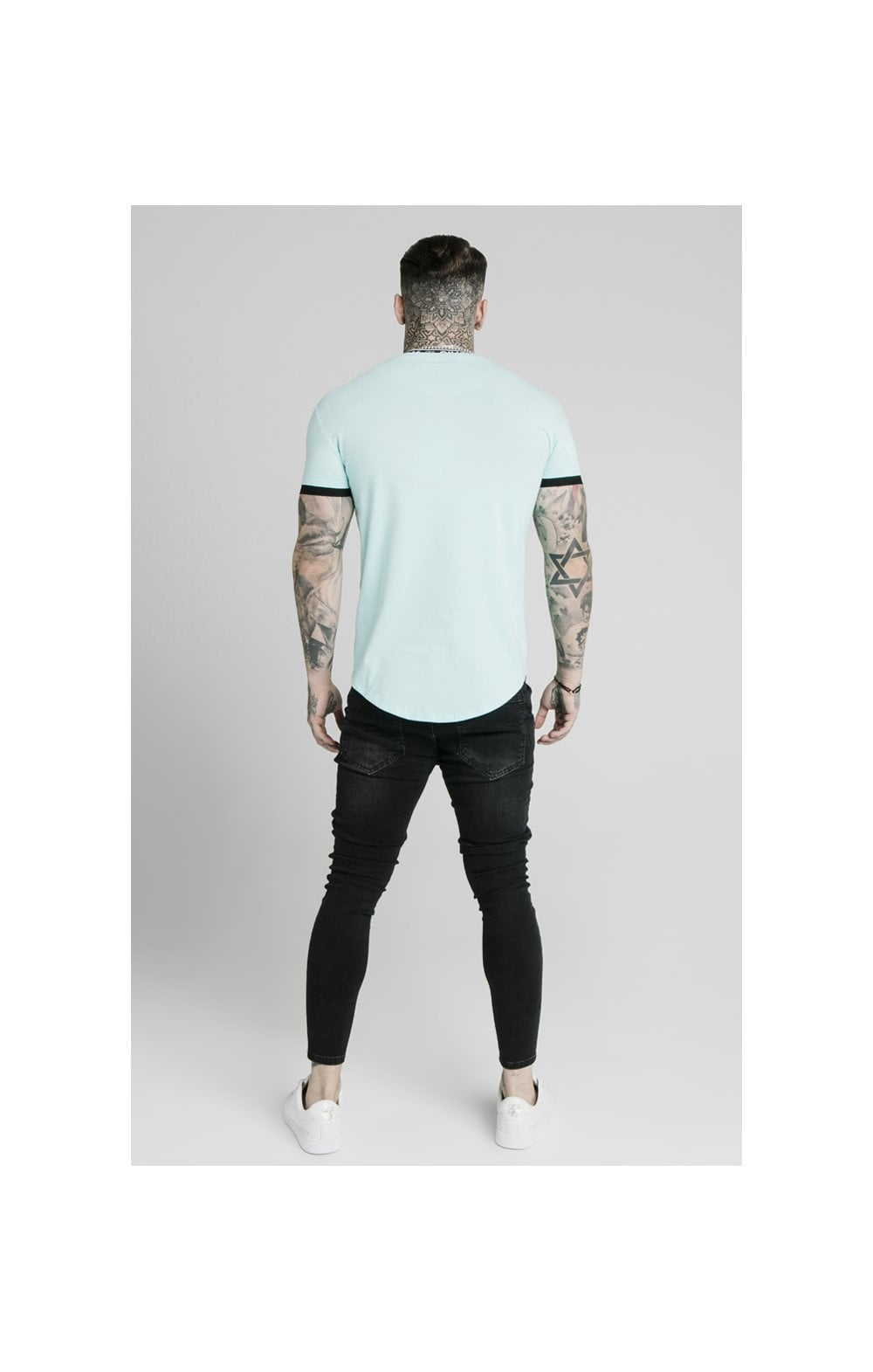 SikSilk S/S Inset Tape Collar Gym Tee - Teal (4)