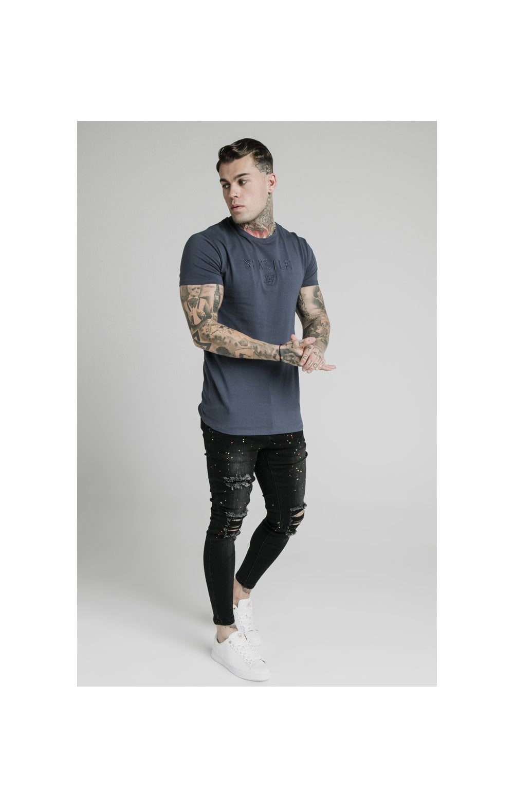 Load image into Gallery viewer, SikSilk S/S Astro Gym Tee - Cosmic Slate (3)