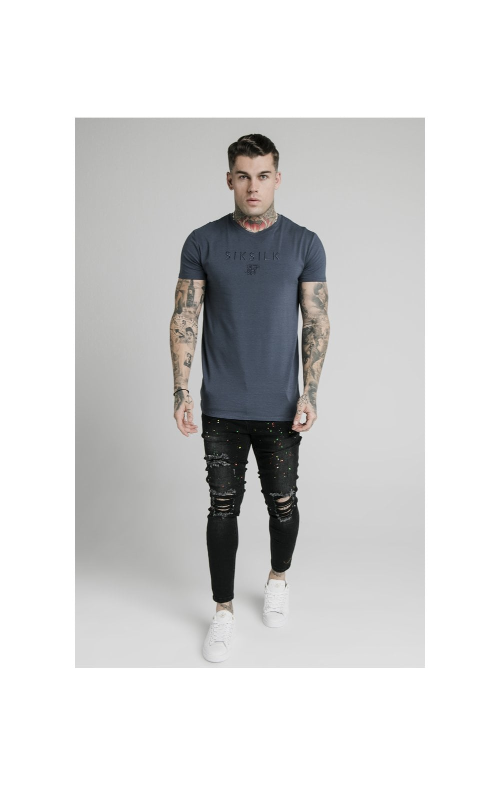 Load image into Gallery viewer, SikSilk S/S Astro Gym Tee - Cosmic Slate (4)