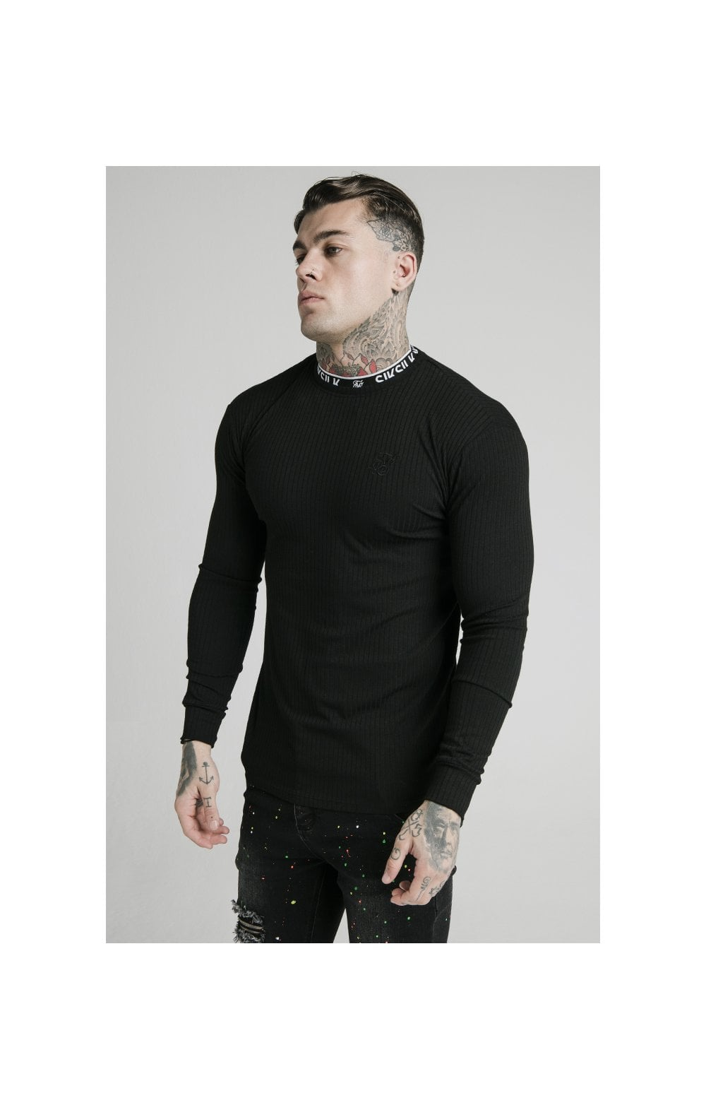 SikSilk L/S Rib Knit Tee - Black