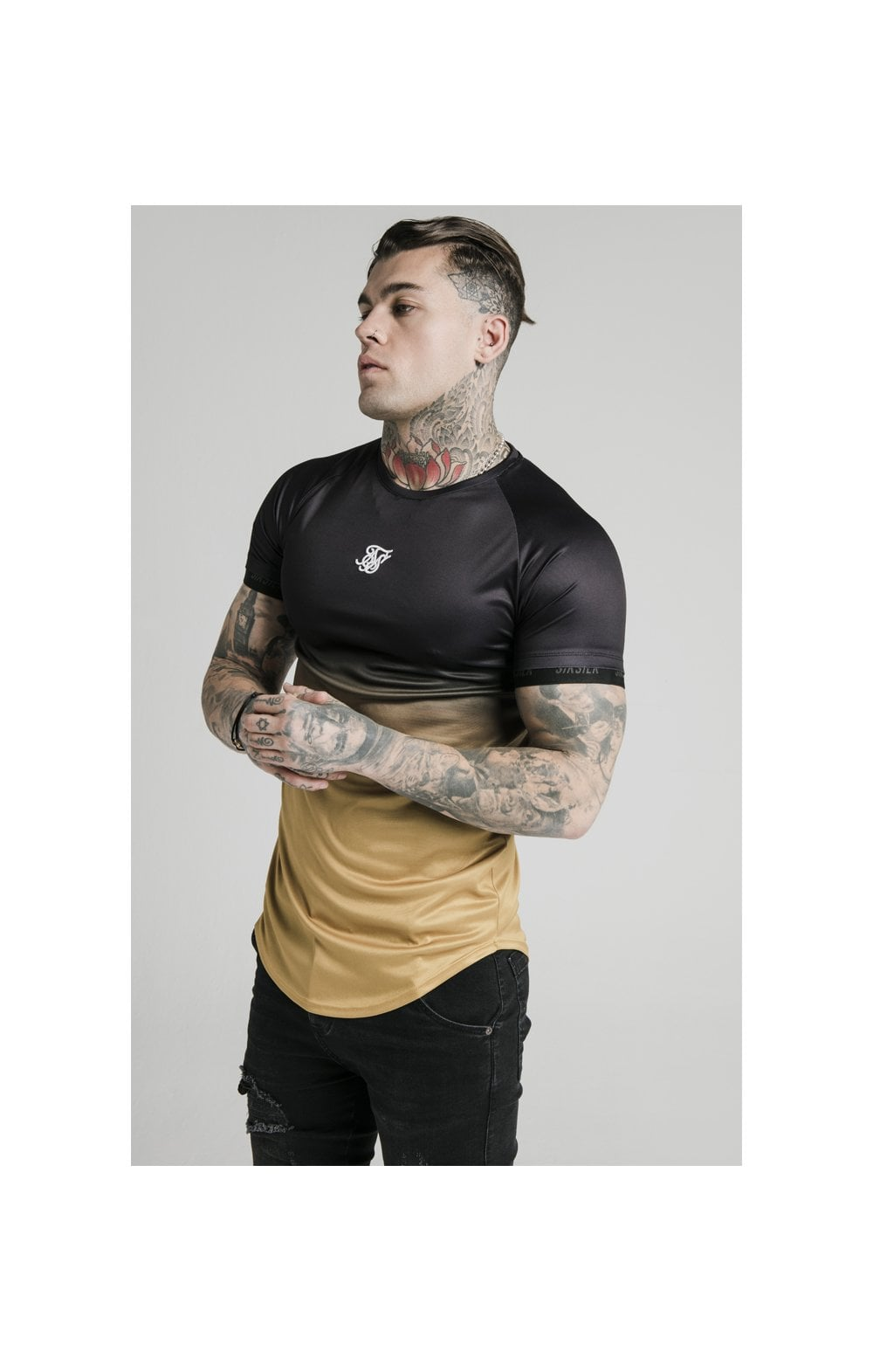 SikSilk S/S  Fade Tech Tee - Black & Gold