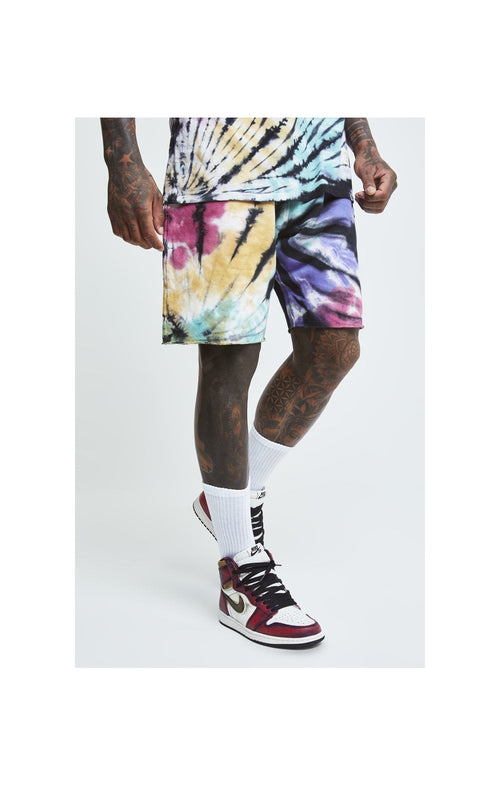 SikSilk X Steve Aoki Relaxed Shorts - Rainbow Ink Tie Dye