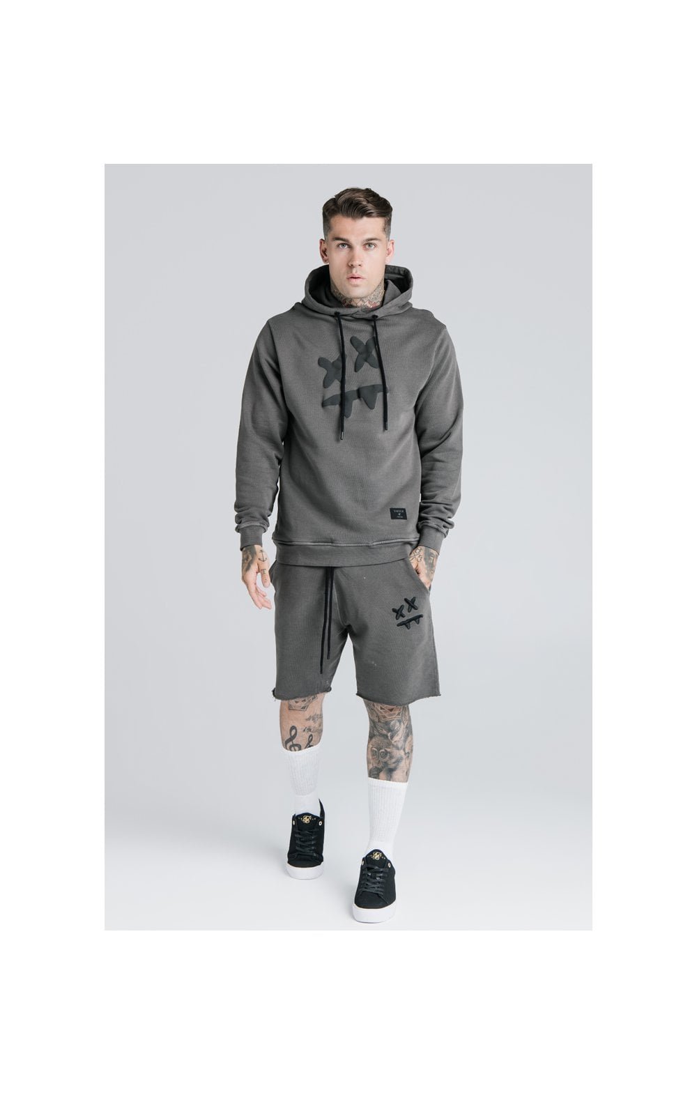 SikSilk X Steve Aoki Relaxed Shorts - Washed Grey (4)