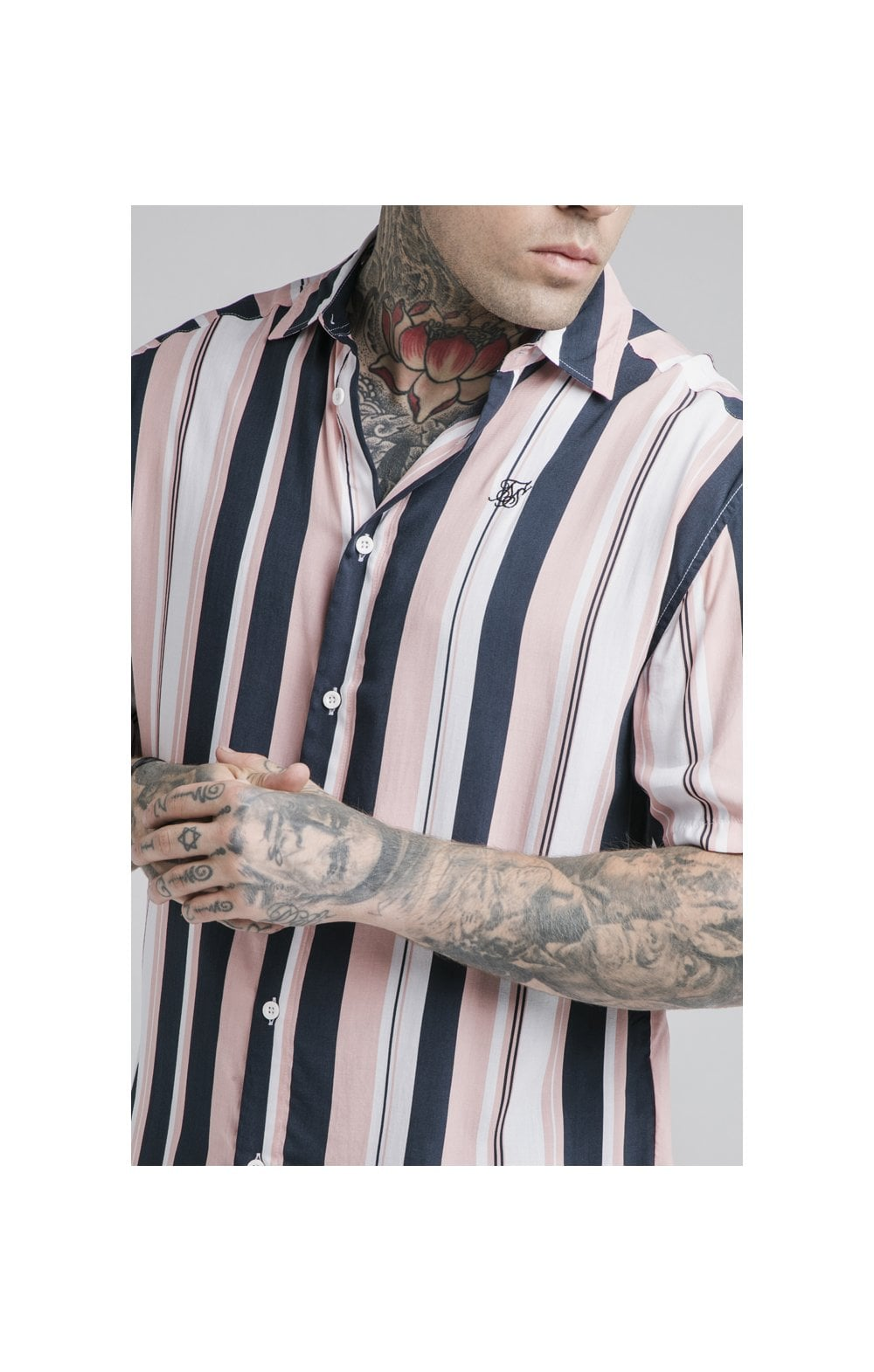 Load image into Gallery viewer, SikSilk Loose Fit Resort Shirt – Navy, Pink & White (1)