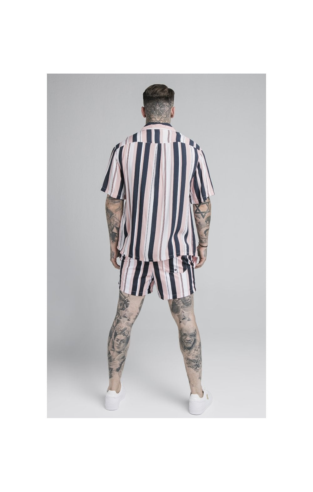 Load image into Gallery viewer, SikSilk Loose Fit Resort Shirt – Navy, Pink & White (4)