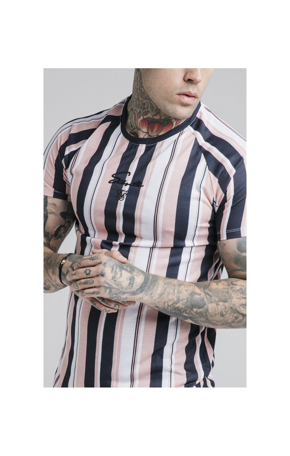 Load image into Gallery viewer, SikSilk Raglan Tech Tee - Navy, Pink & White (1)
