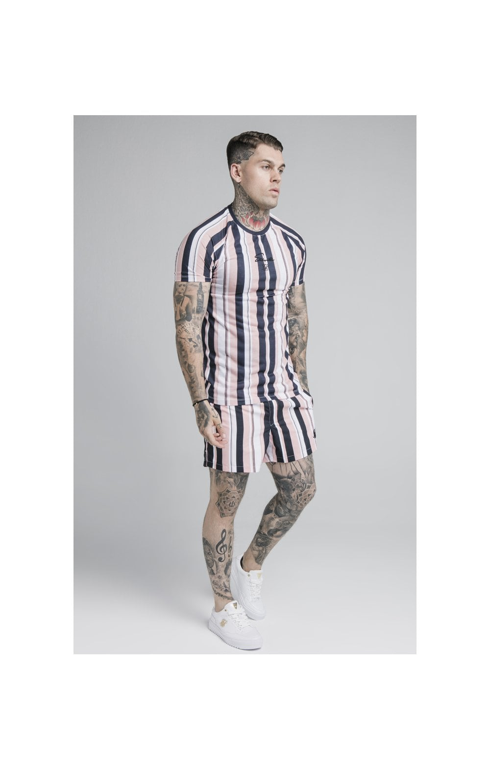 SikSilk Raglan Tech Tee - Navy, Pink & White (2)