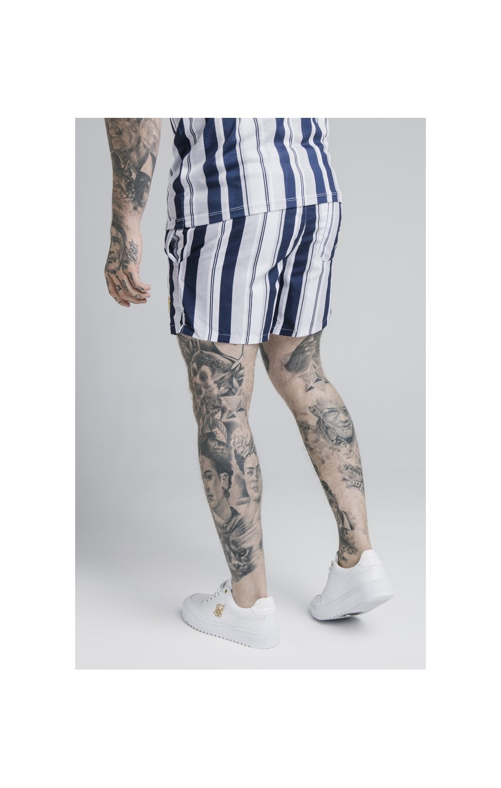 Load image into Gallery viewer, SikSilk Standard Swim Shorts – Navy, Grey & White (1)