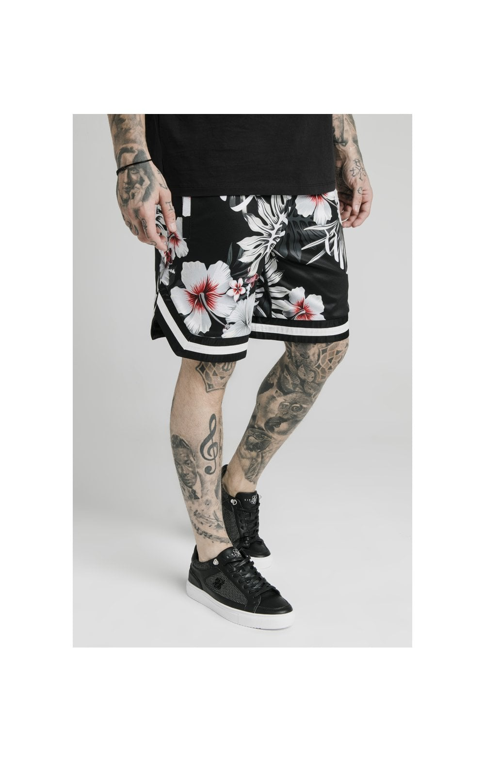 SikSilk Floral Basketball Shorts - Black (2)