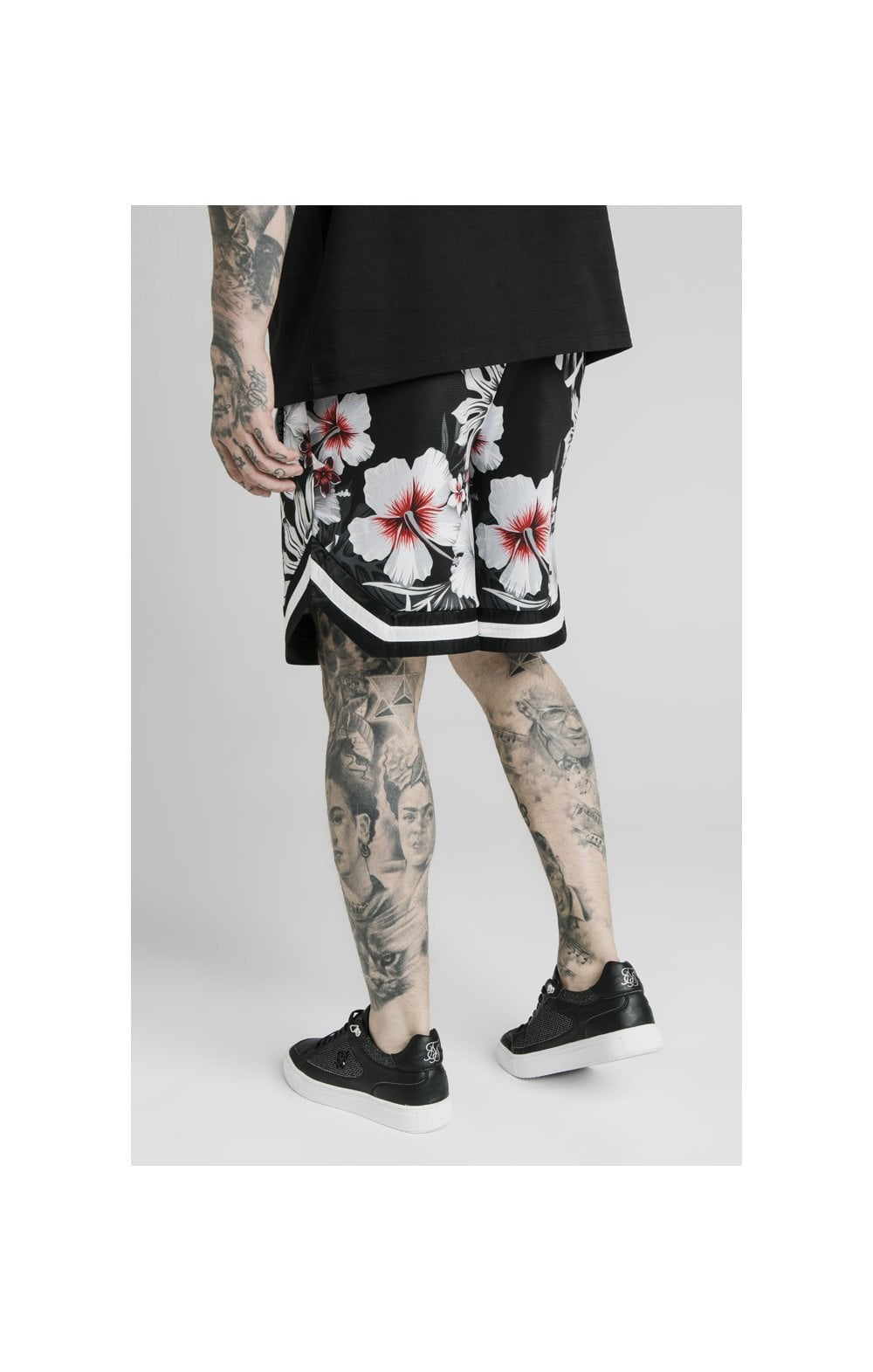 SikSilk Floral Basketball Shorts - Black (3)