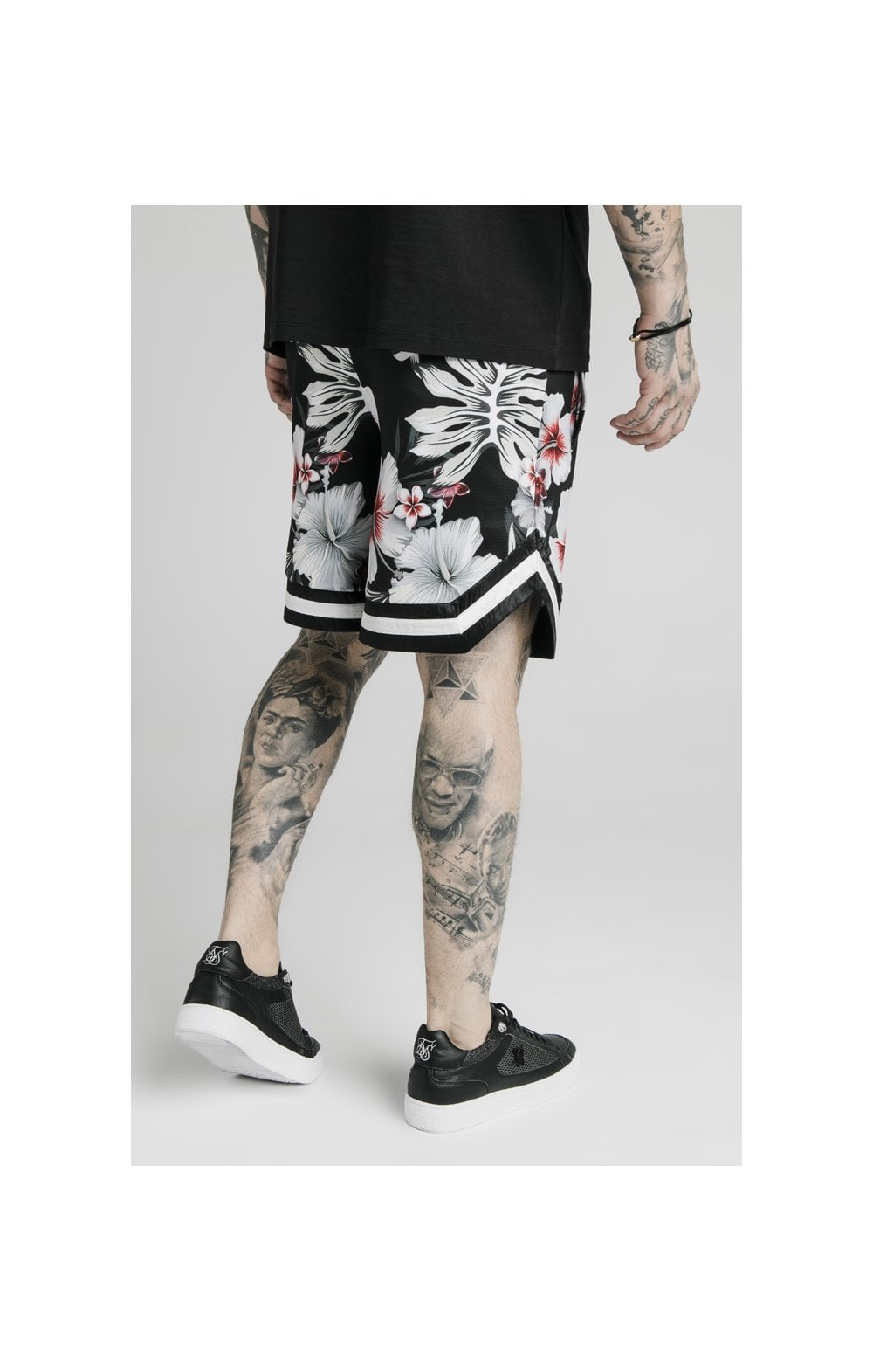 SikSilk Floral Basketball Shorts - Black (4)