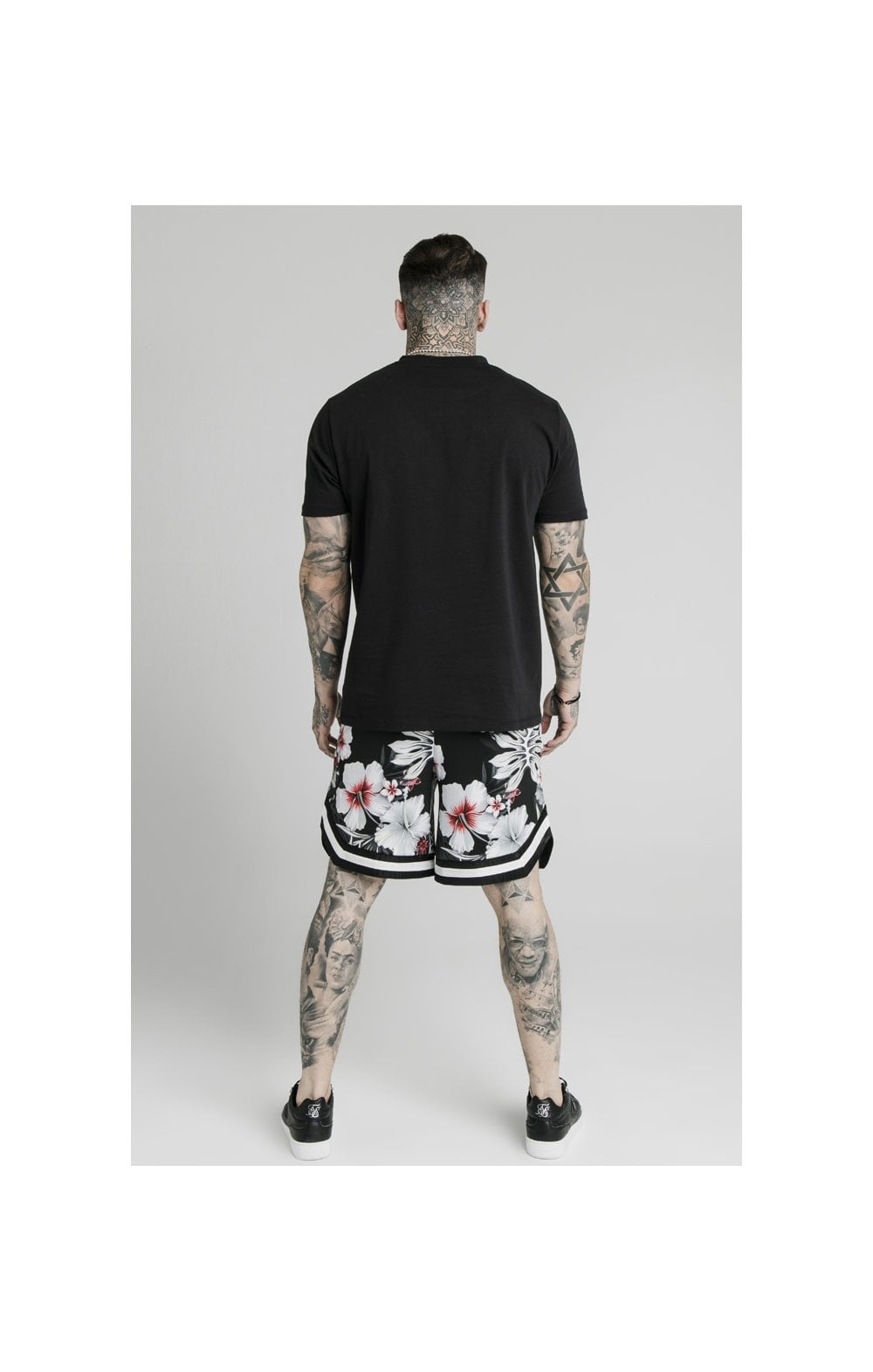 SikSilk Floral Basketball Shorts - Black (5)