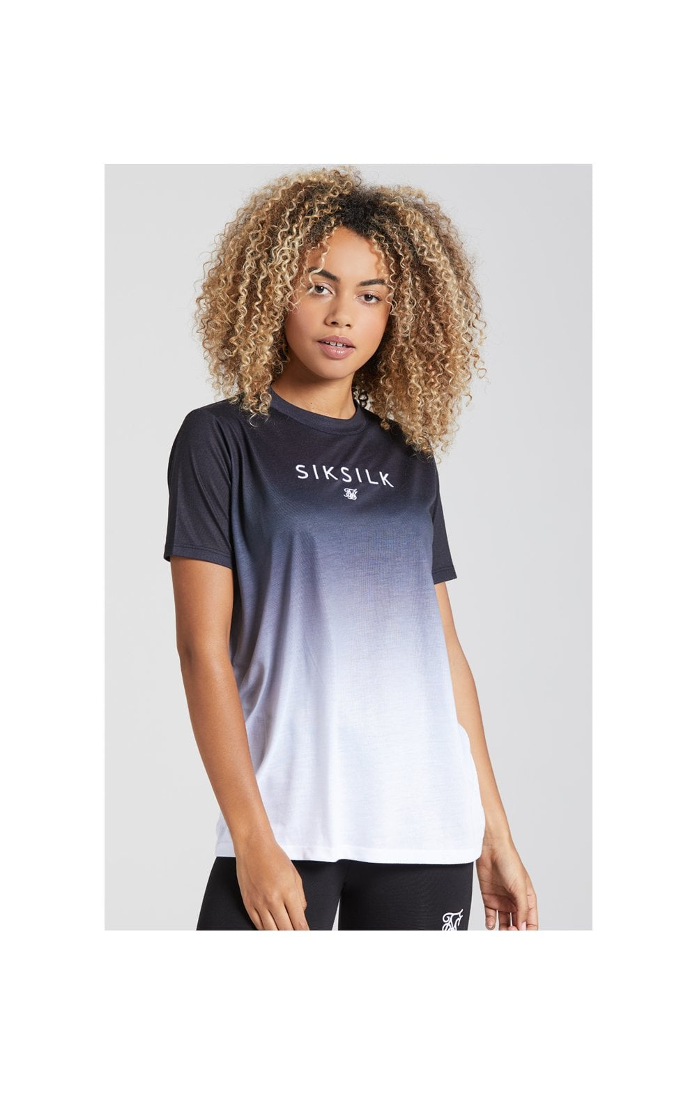 Load image into Gallery viewer, SikSilk Fade Logo Boyfriend Tee - Black & White (1)