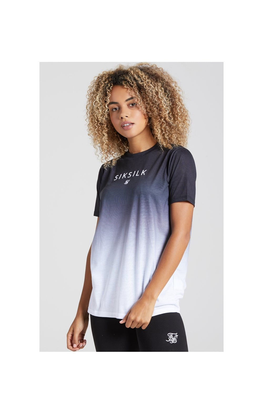 Load image into Gallery viewer, SikSilk Fade Logo Boyfriend Tee - Black & White (4)
