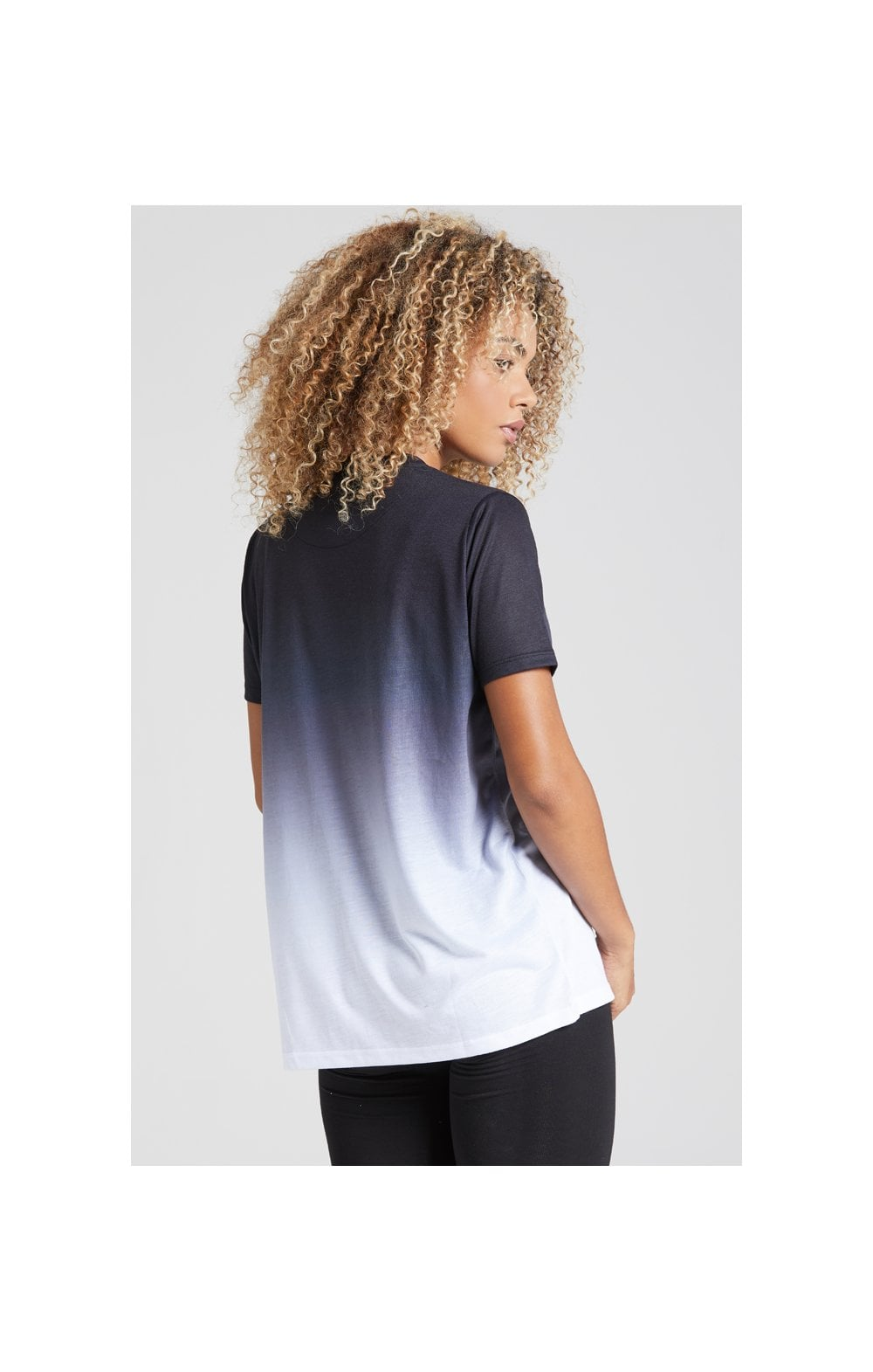 Load image into Gallery viewer, SikSilk Fade Logo Boyfriend Tee - Black & White (5)
