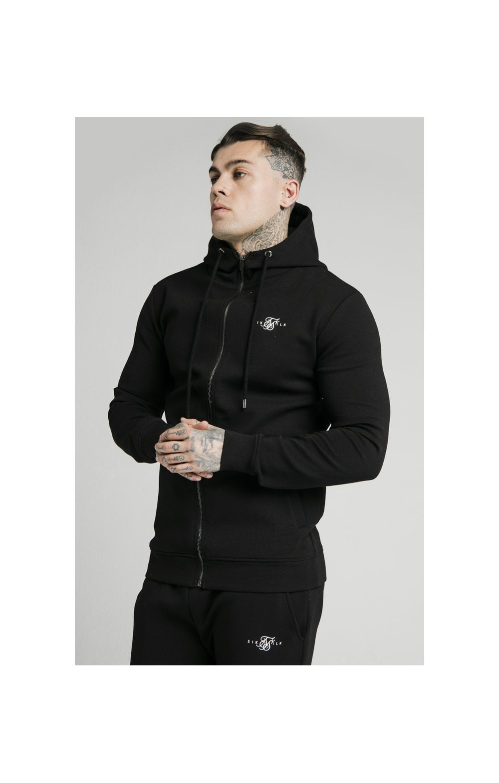 SikSilk Zip Through Muscle Fit Hoodie – Black