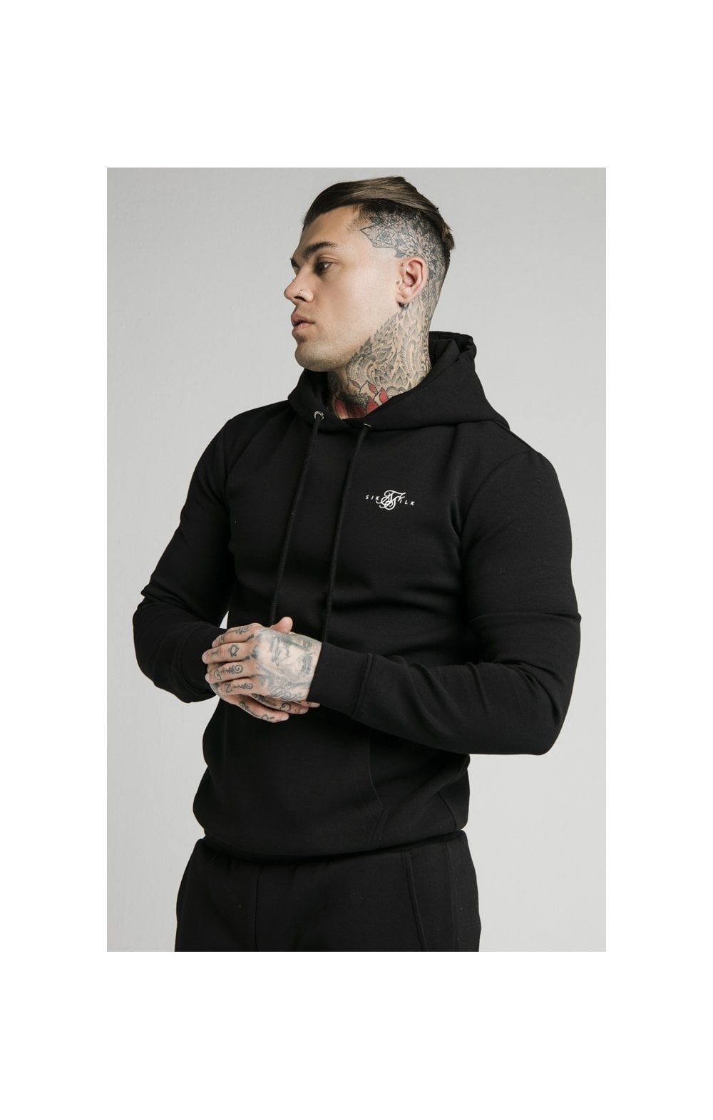 SikSilk Overhead Muscle Fit Hoodie - Black