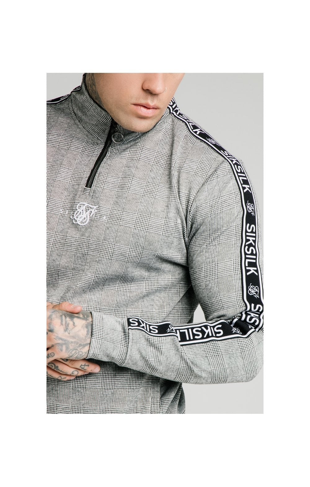 SikSilk Dog Tooth Check 1/4 Zip Funnel Neck Hoodie - Black & White