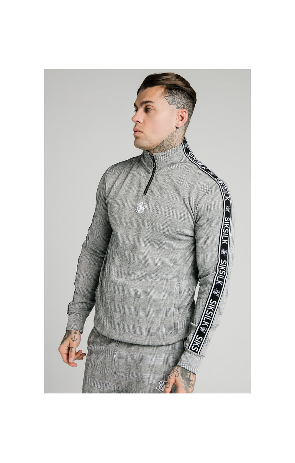 SikSilk Dog Tooth Check 1/4 Zip Funnel Neck Hoodie - Black & White (1)