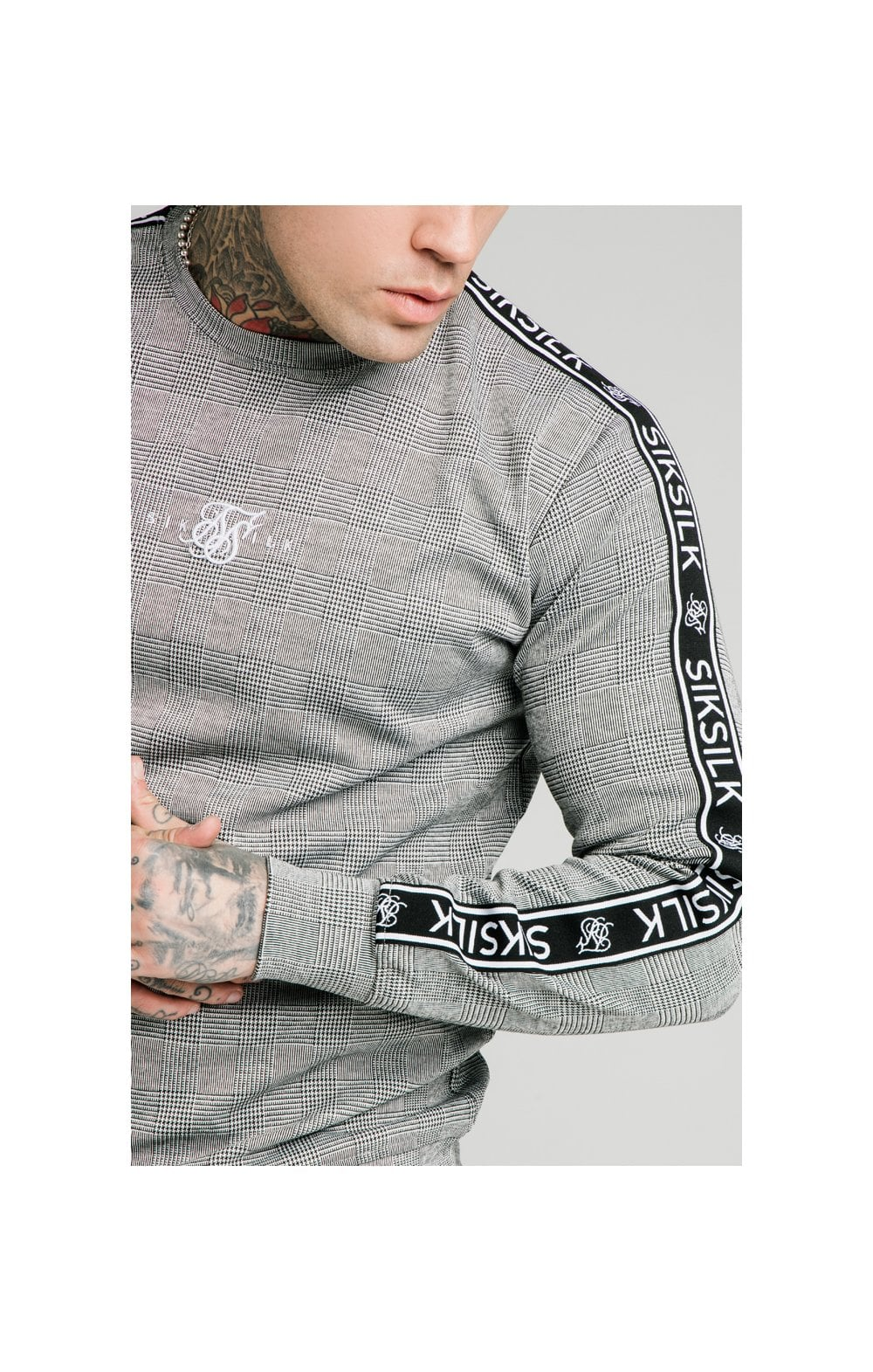 SikSilk Dog Tooth Check Crew Sweater - Black & White
