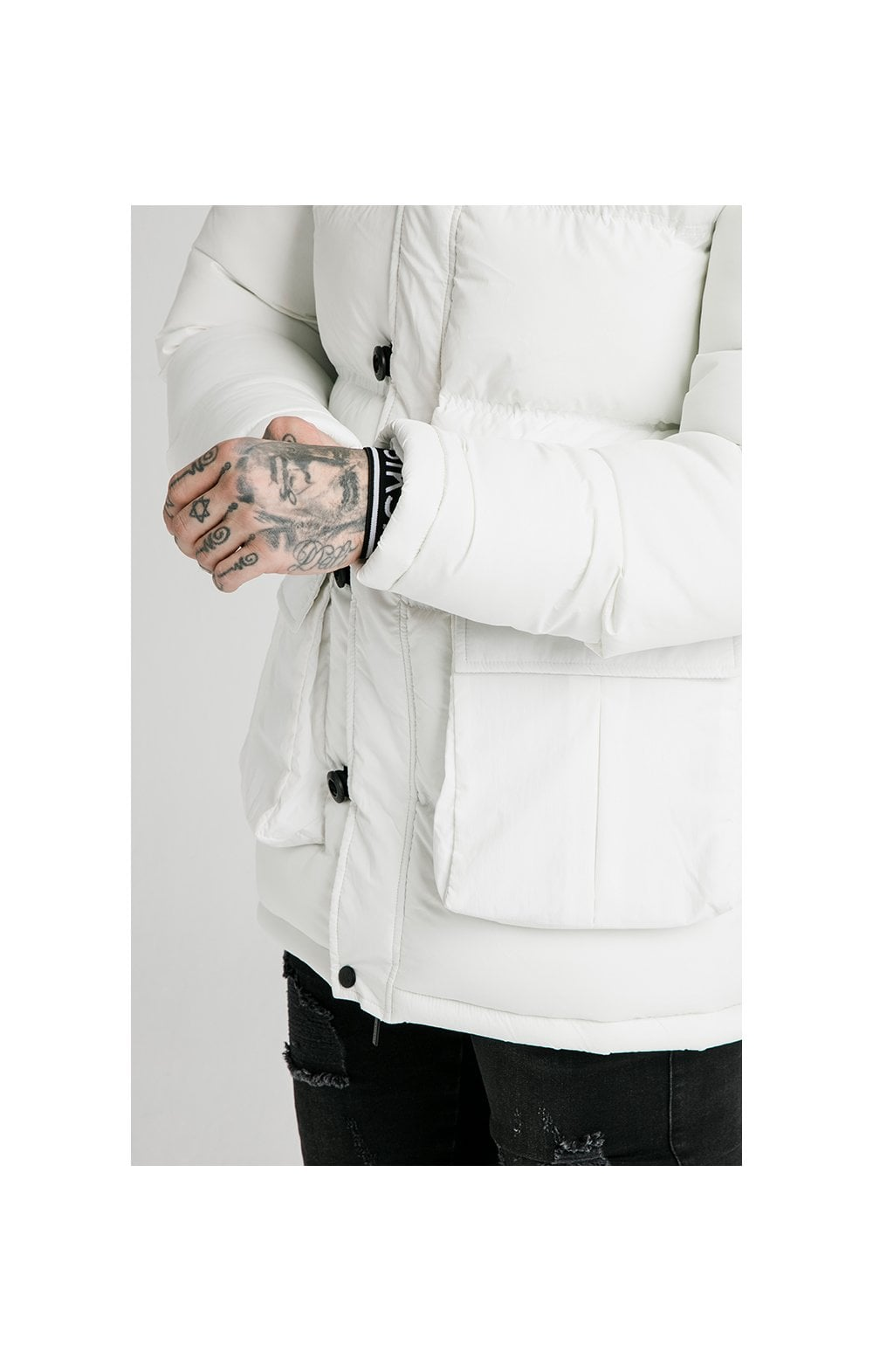 SikSilk Rip Stop Puff Parka - White (1)