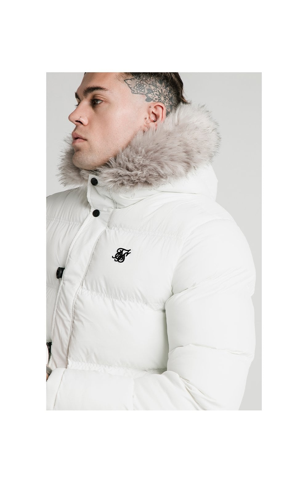 SikSilk Rip Stop Puff Parka - White (2)