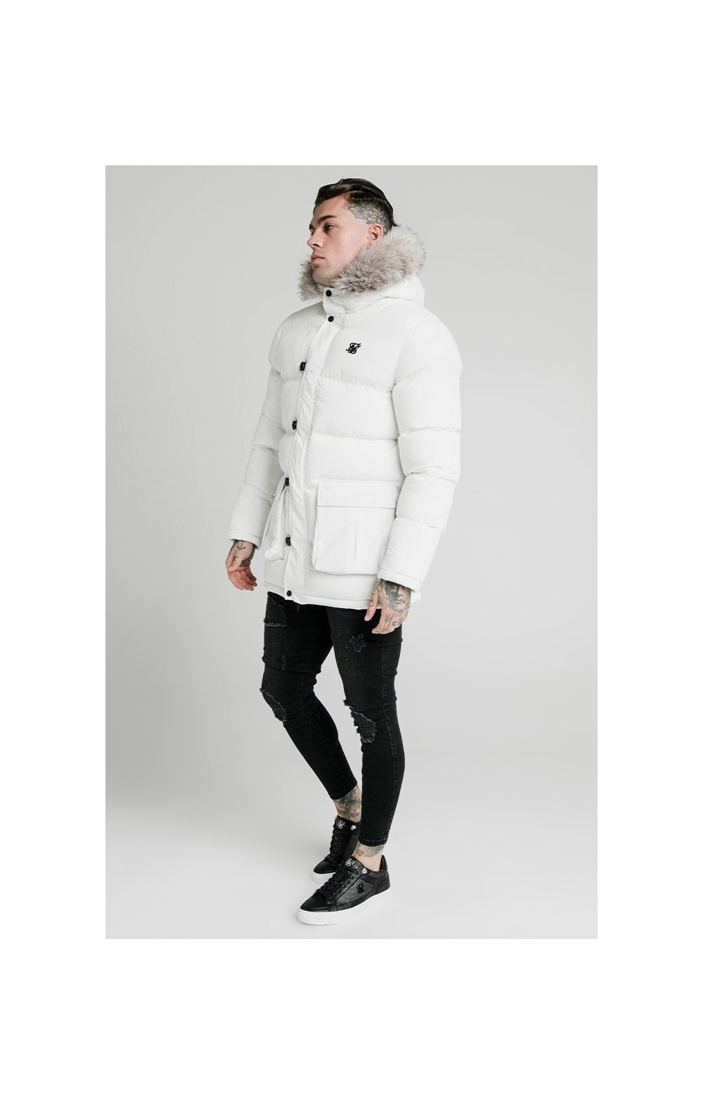 SikSilk Rip Stop Puff Parka - White (4)