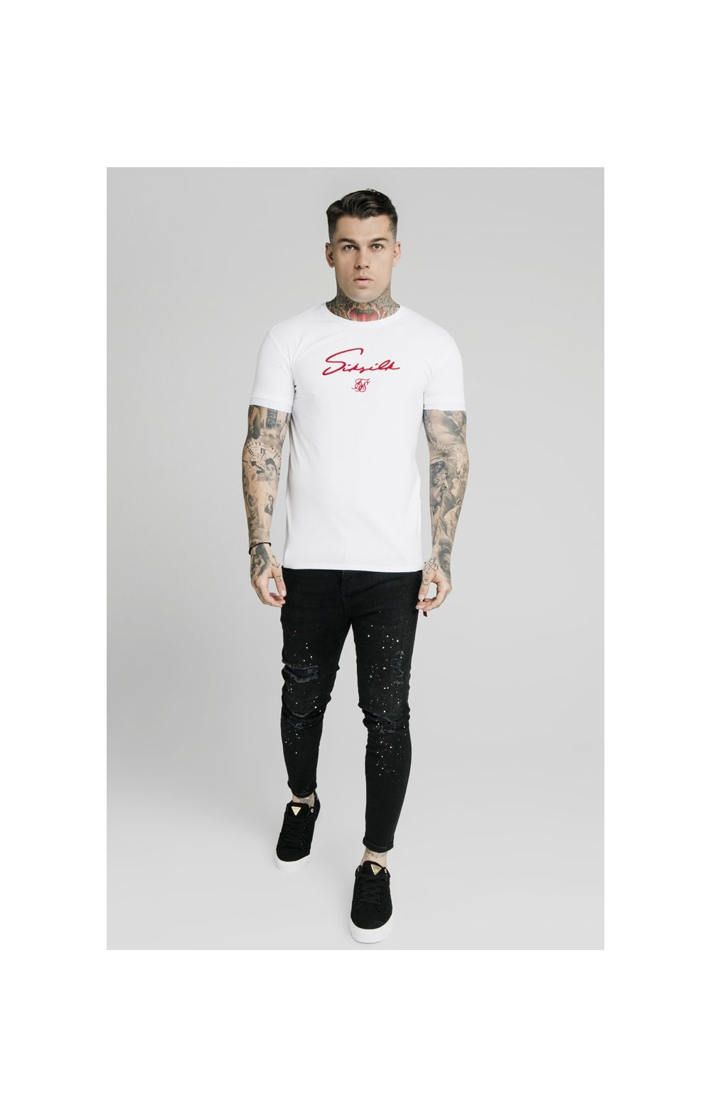 Load image into Gallery viewer, SikSilk S/S Signature Flock Tee - White (4)