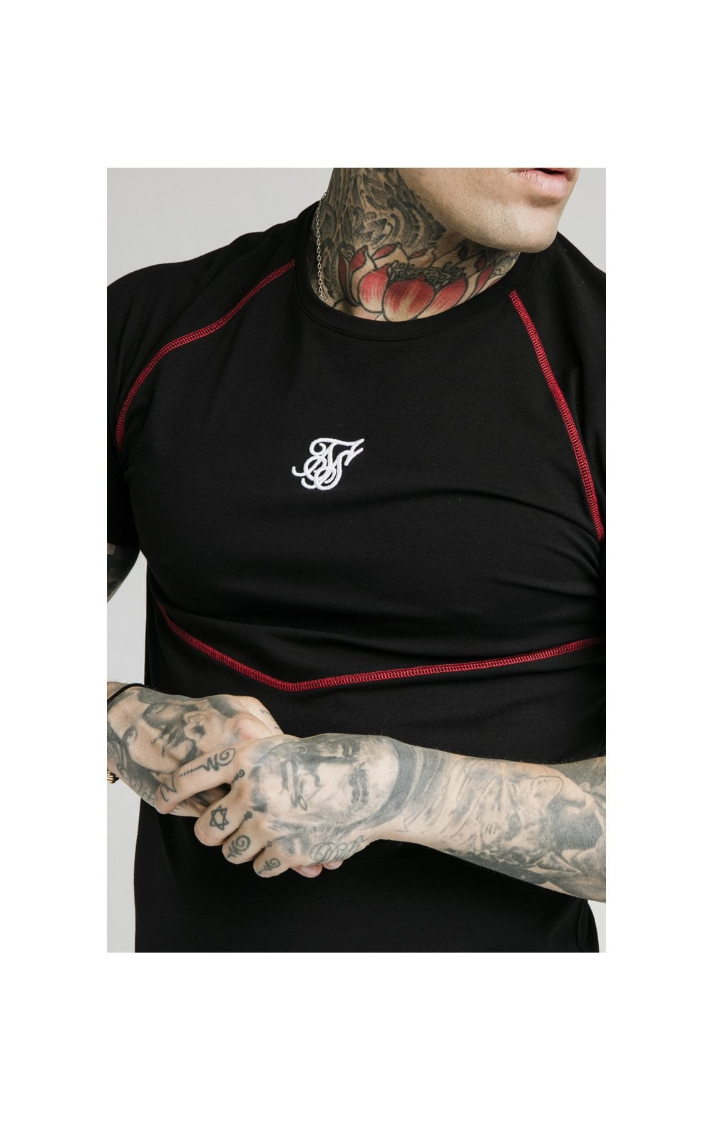 SikSilk Cover Stitch Raglan Gym Tee - Black & Red