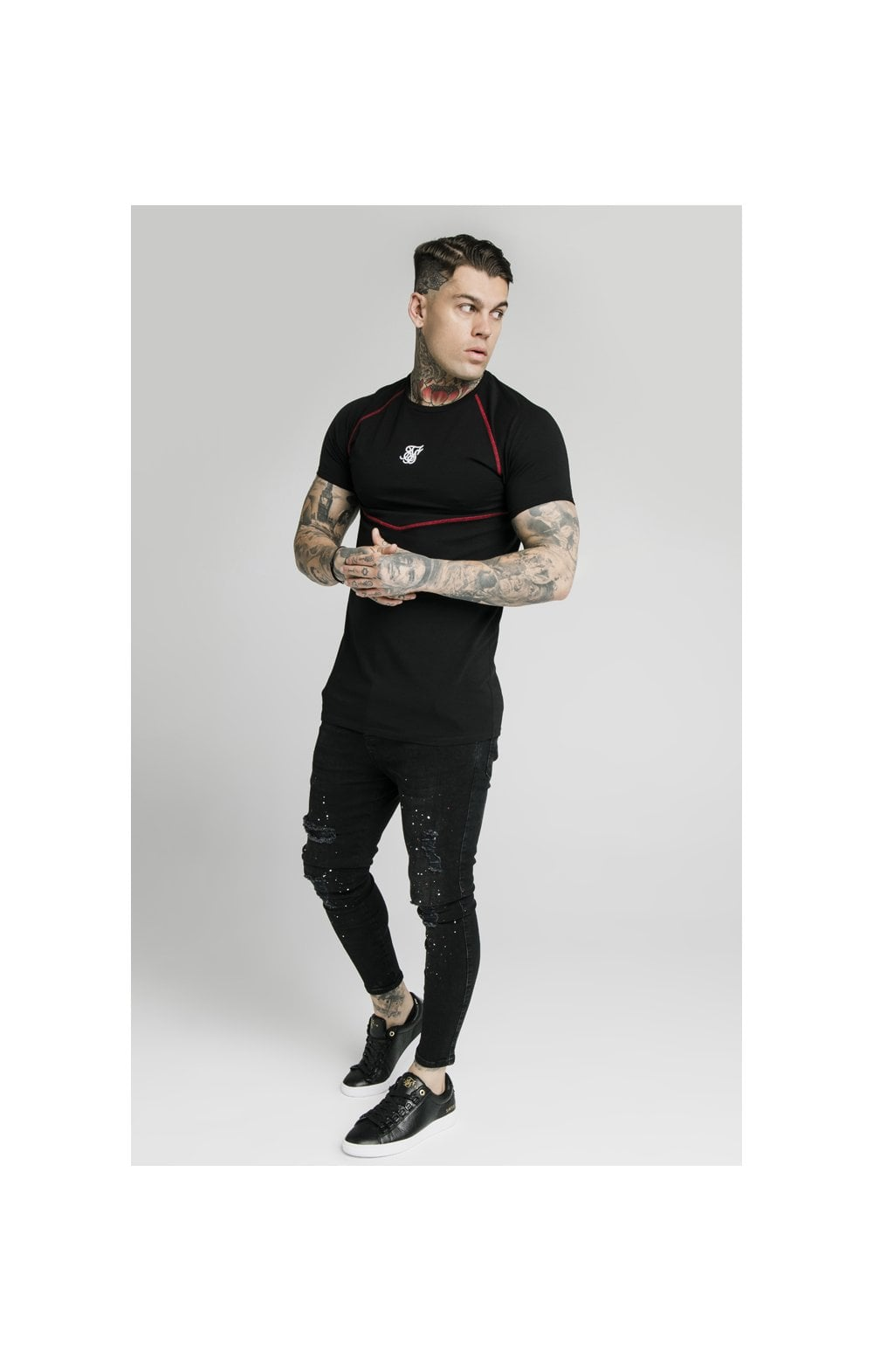 SikSilk Cover Stitch Raglan Gym Tee - Black & Red (2)