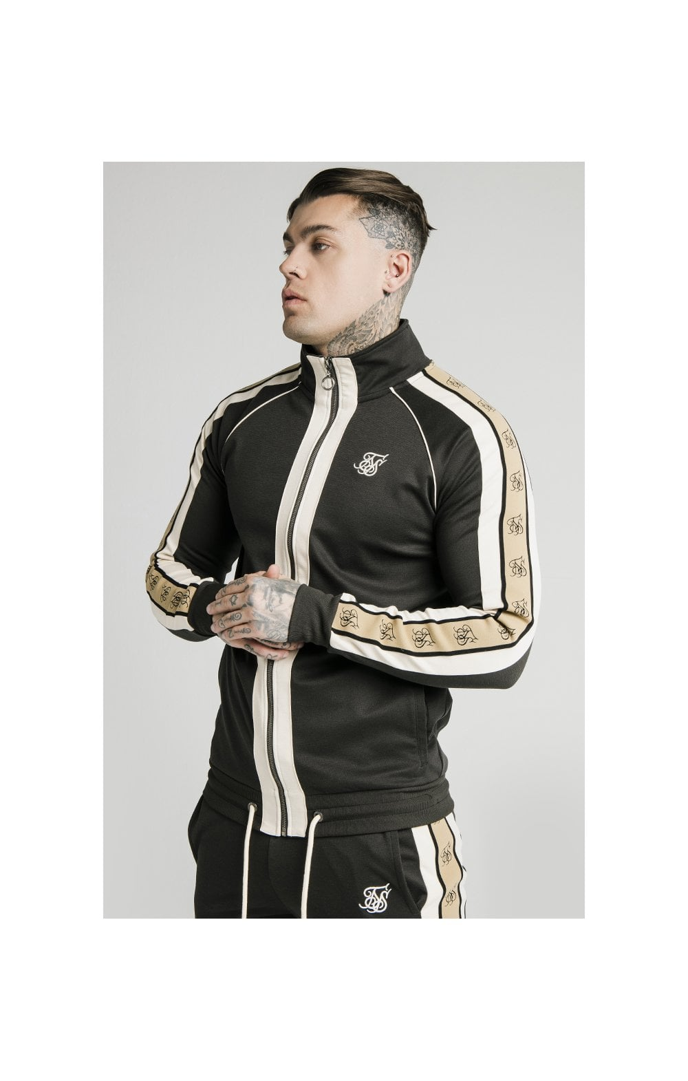 SikSilk Premium Tape Funnel Zip Through Hoodie - Anthracite