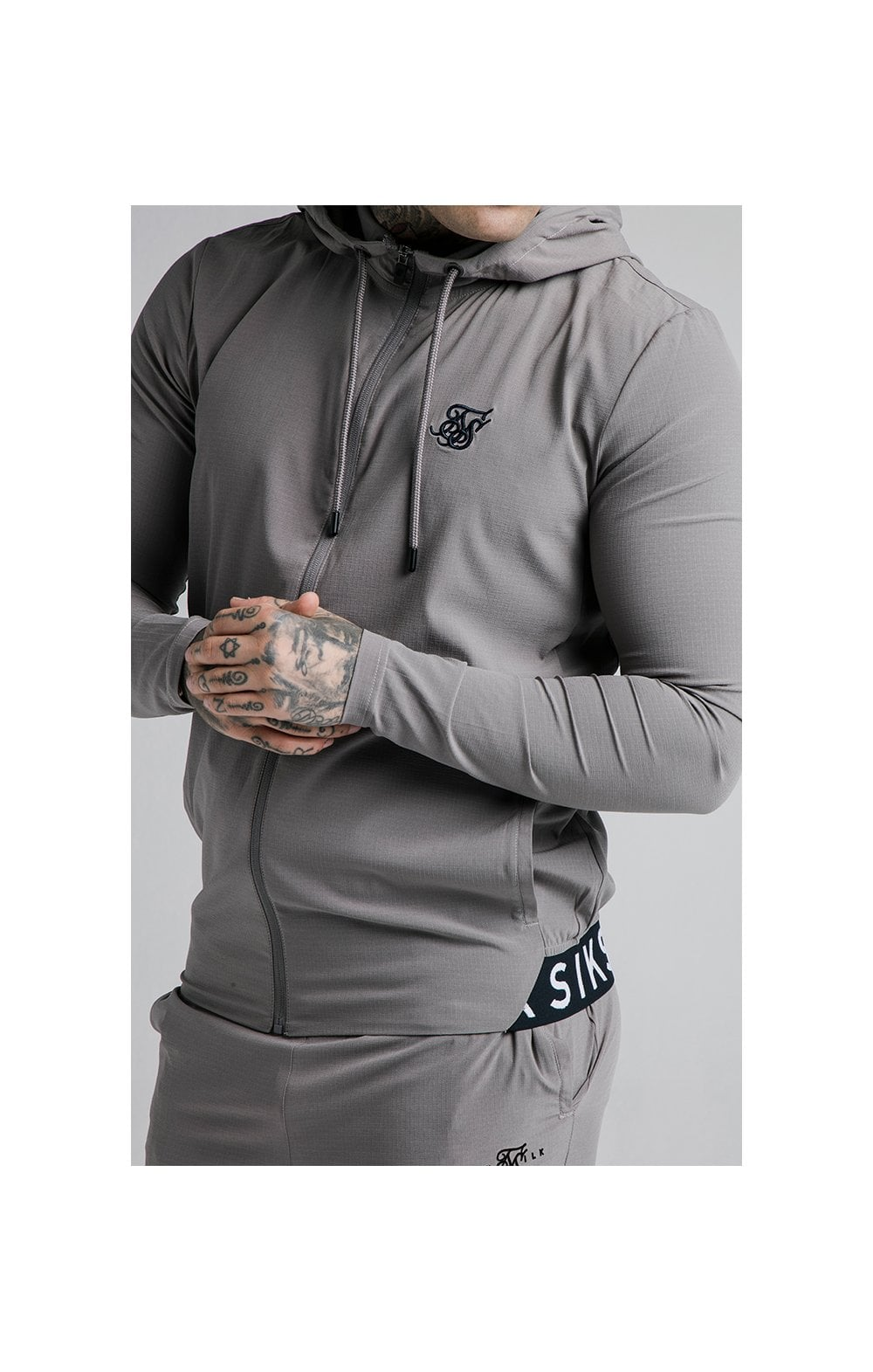 Load image into Gallery viewer, SikSilk RipStop Agility Zip Through Hoodie – Grey