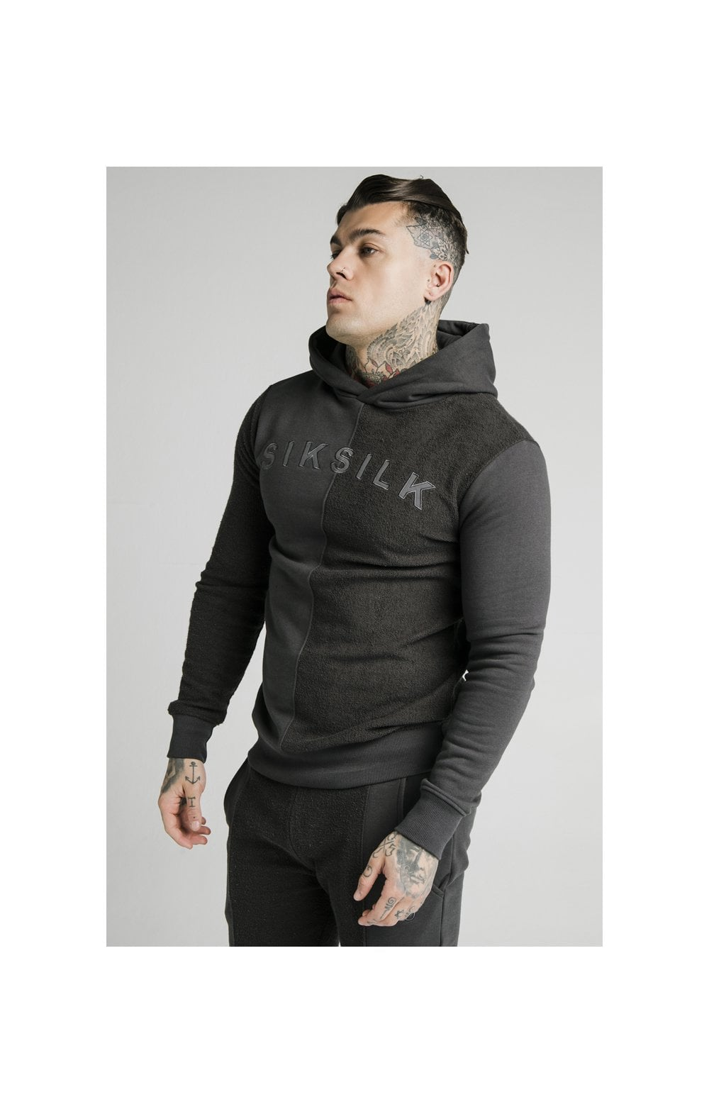 SikSilk Half & Half Overhead Hoodie – Washed Grey (1)
