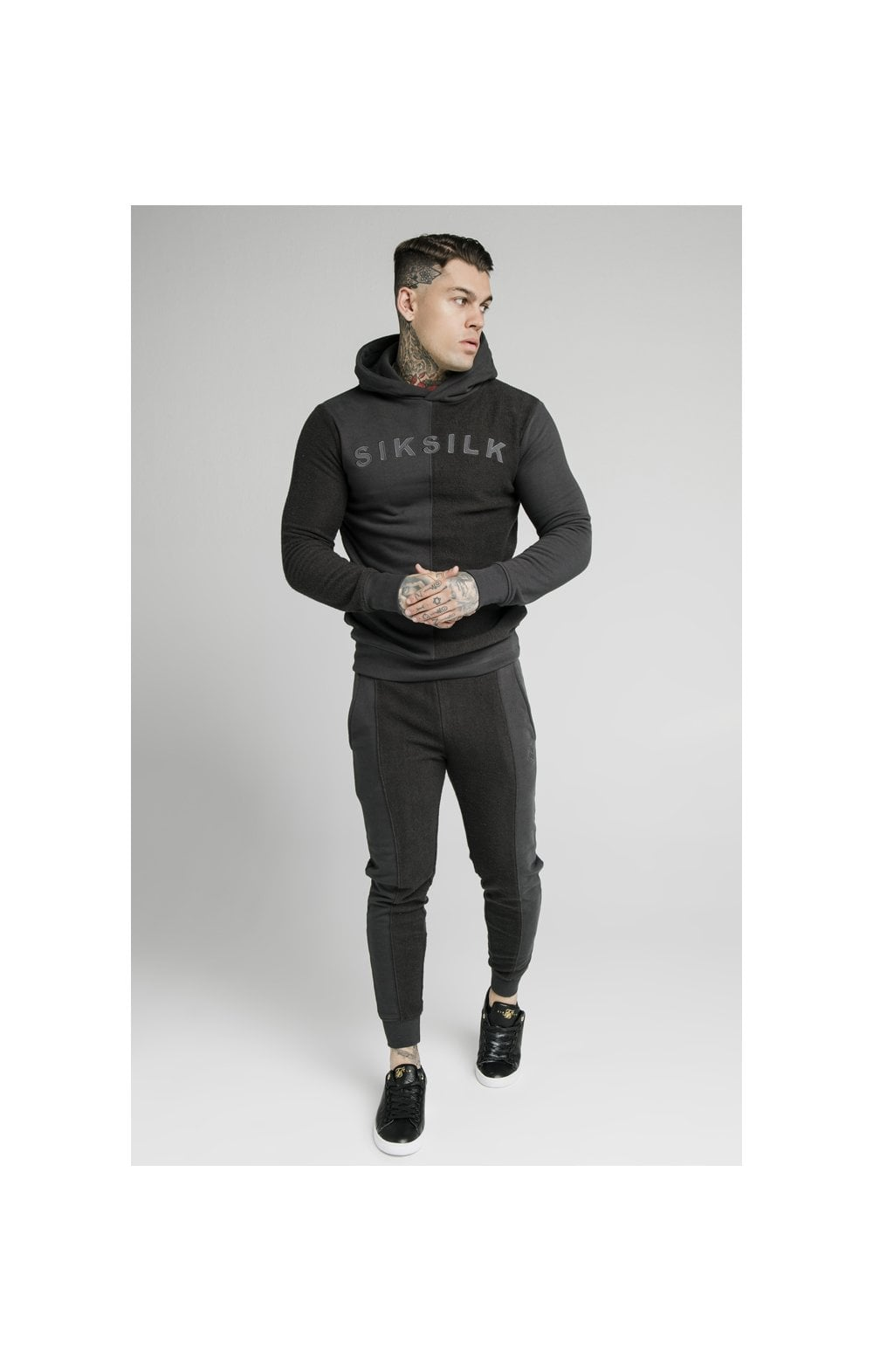 SikSilk Half & Half Overhead Hoodie – Washed Grey (3)