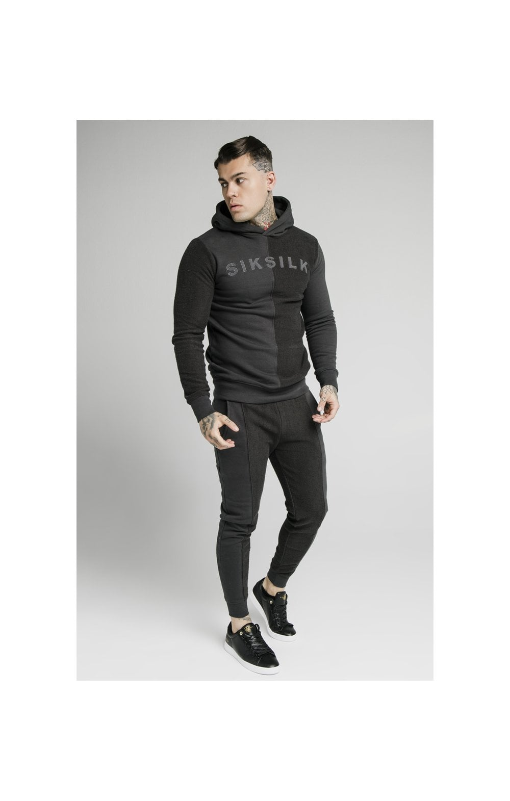 SikSilk Half & Half Overhead Hoodie – Washed Grey (4)