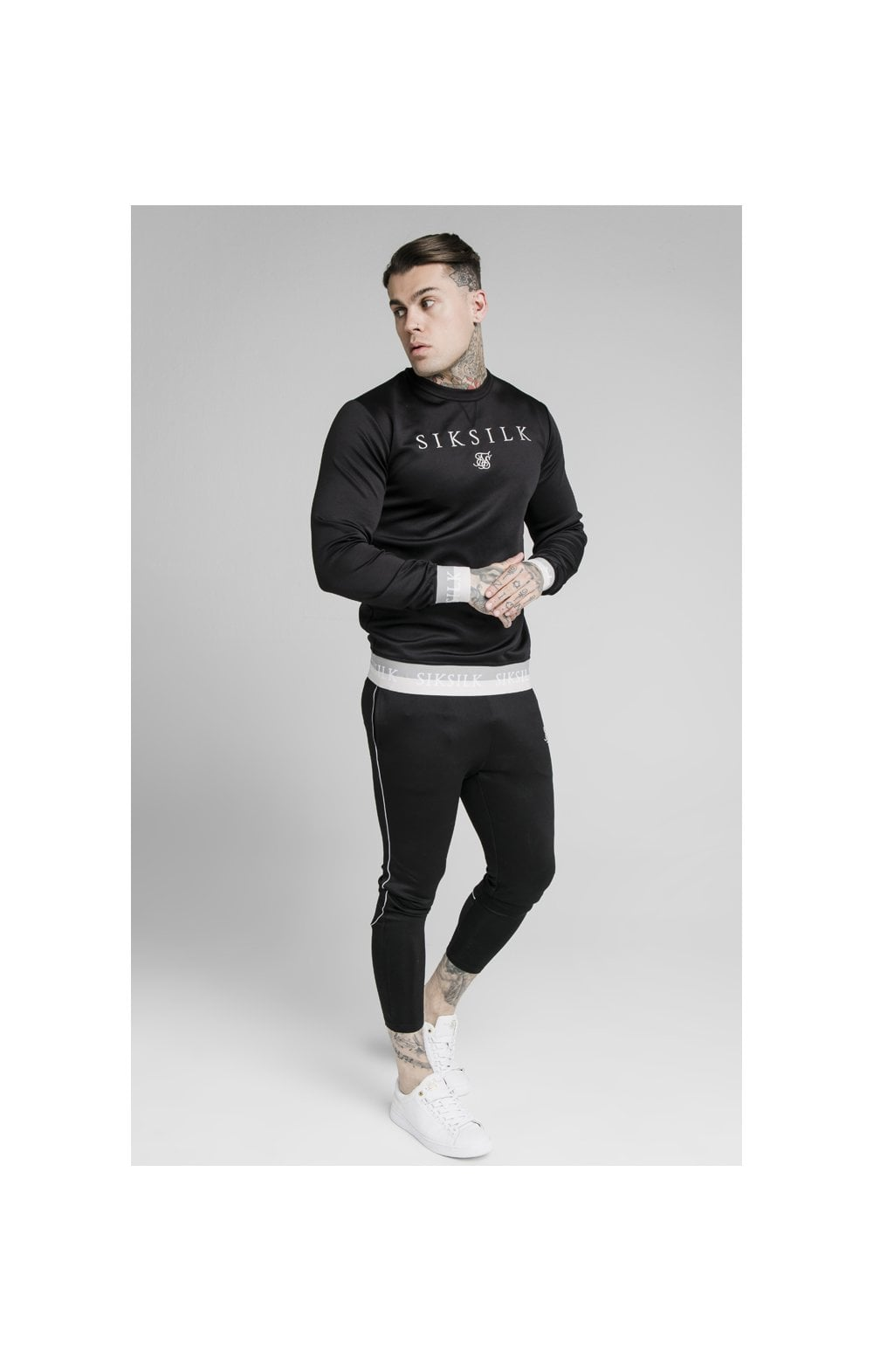 SikSilk Deluxe Crew Sweat - Black (1)