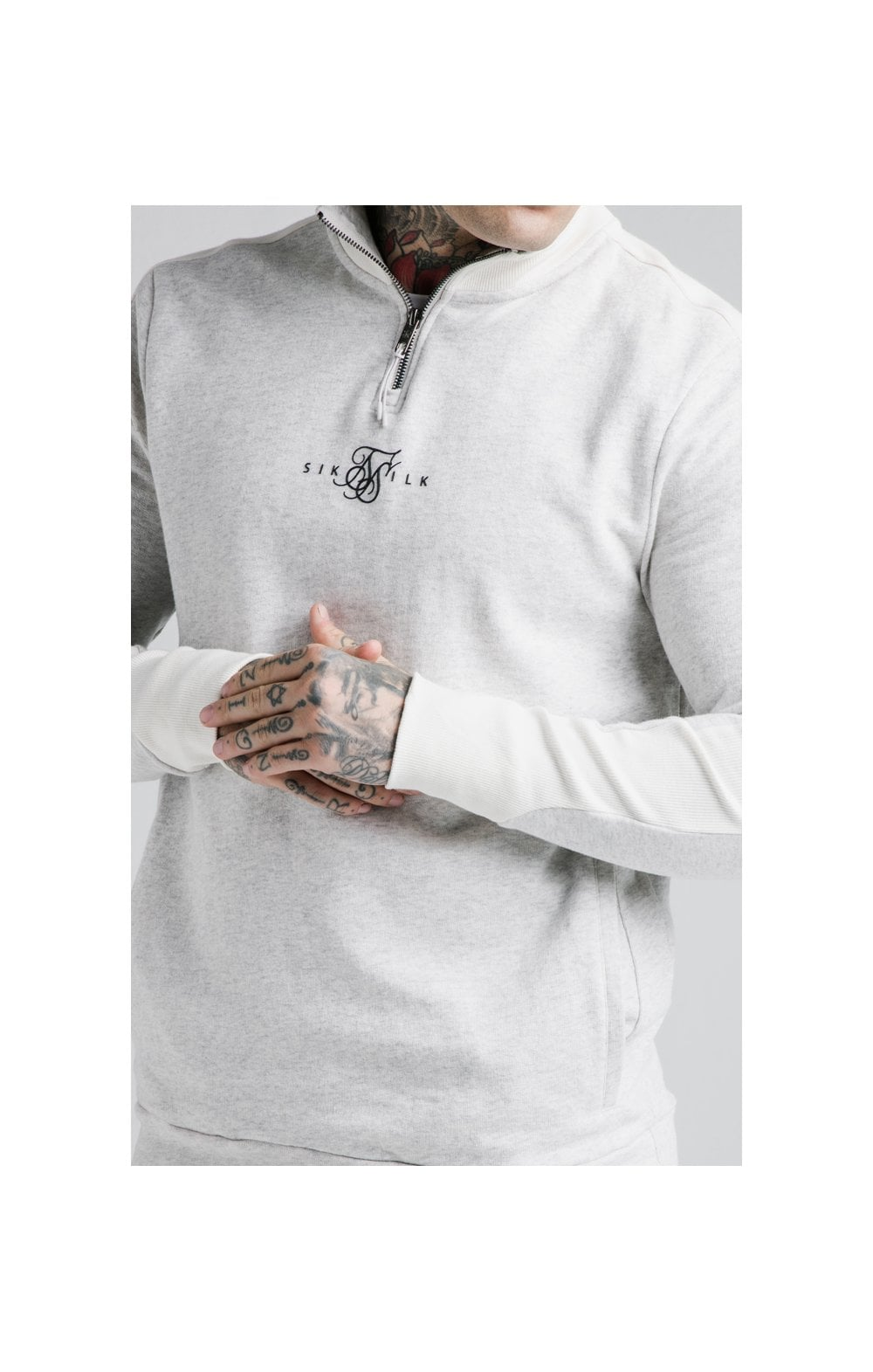 SikSilk Unite Panelled Quarter Zip  - Grey & Cream