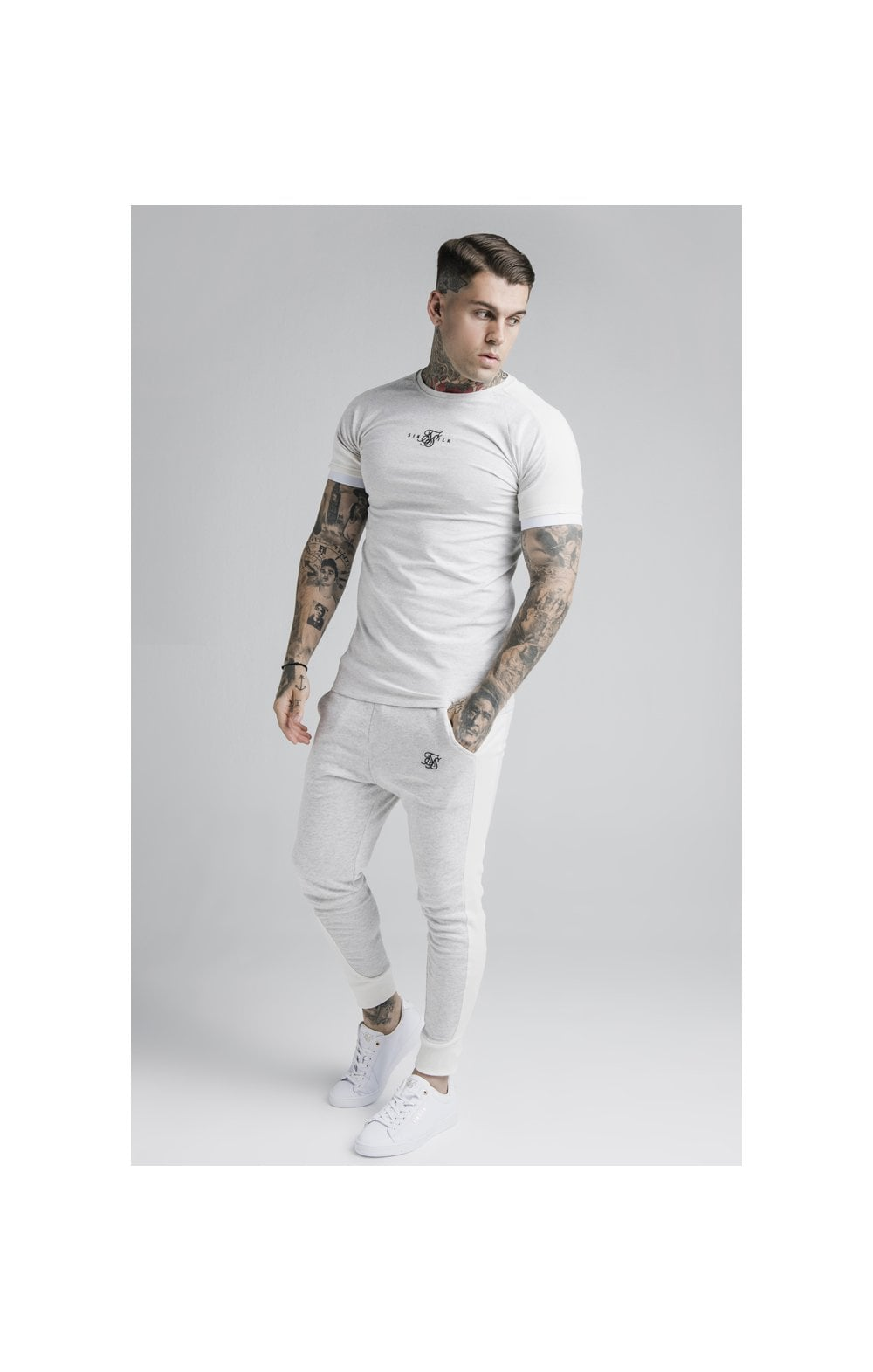 Load image into Gallery viewer, SikSilk Unite Rib Raglan Gym Tee - White (2)