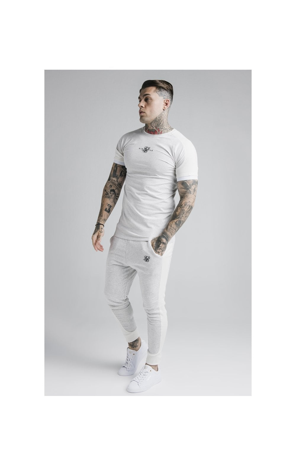 Load image into Gallery viewer, SikSilk Unite Rib Raglan Gym Tee - White (5)
