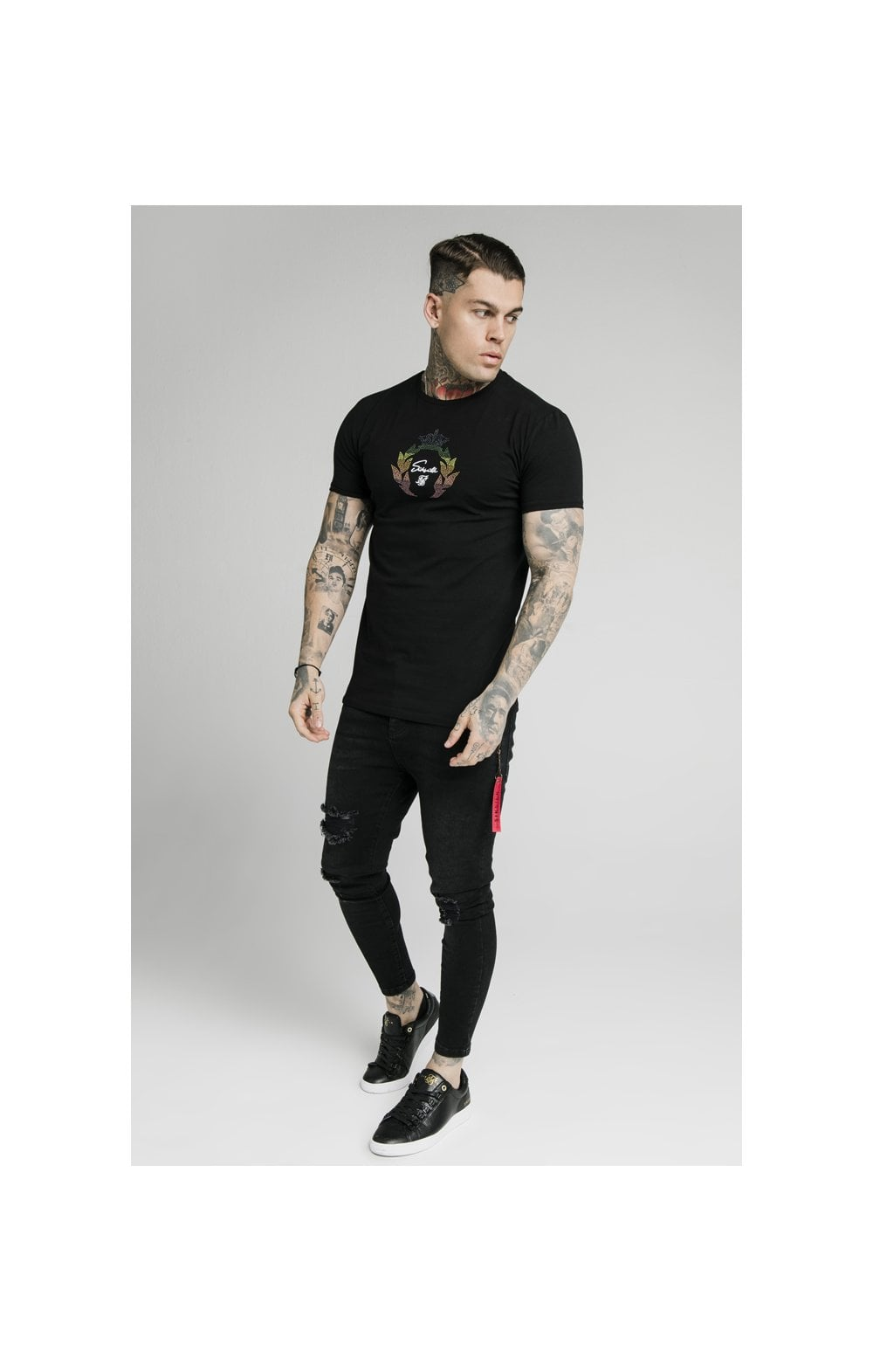 Load image into Gallery viewer, SikSilk S/S Fade Prestige Gym Tee - Black (2)