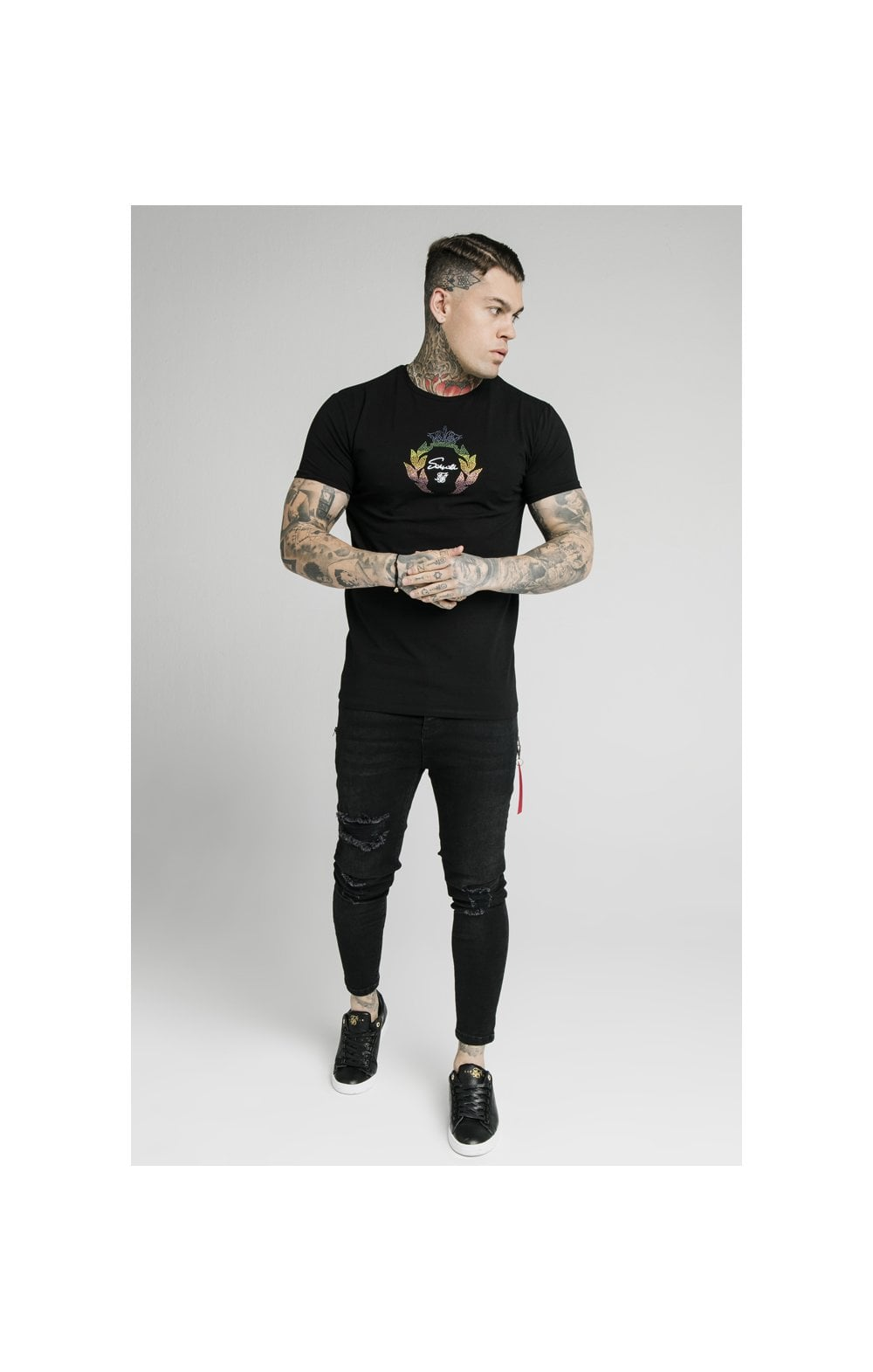 Load image into Gallery viewer, SikSilk S/S Fade Prestige Gym Tee - Black (3)