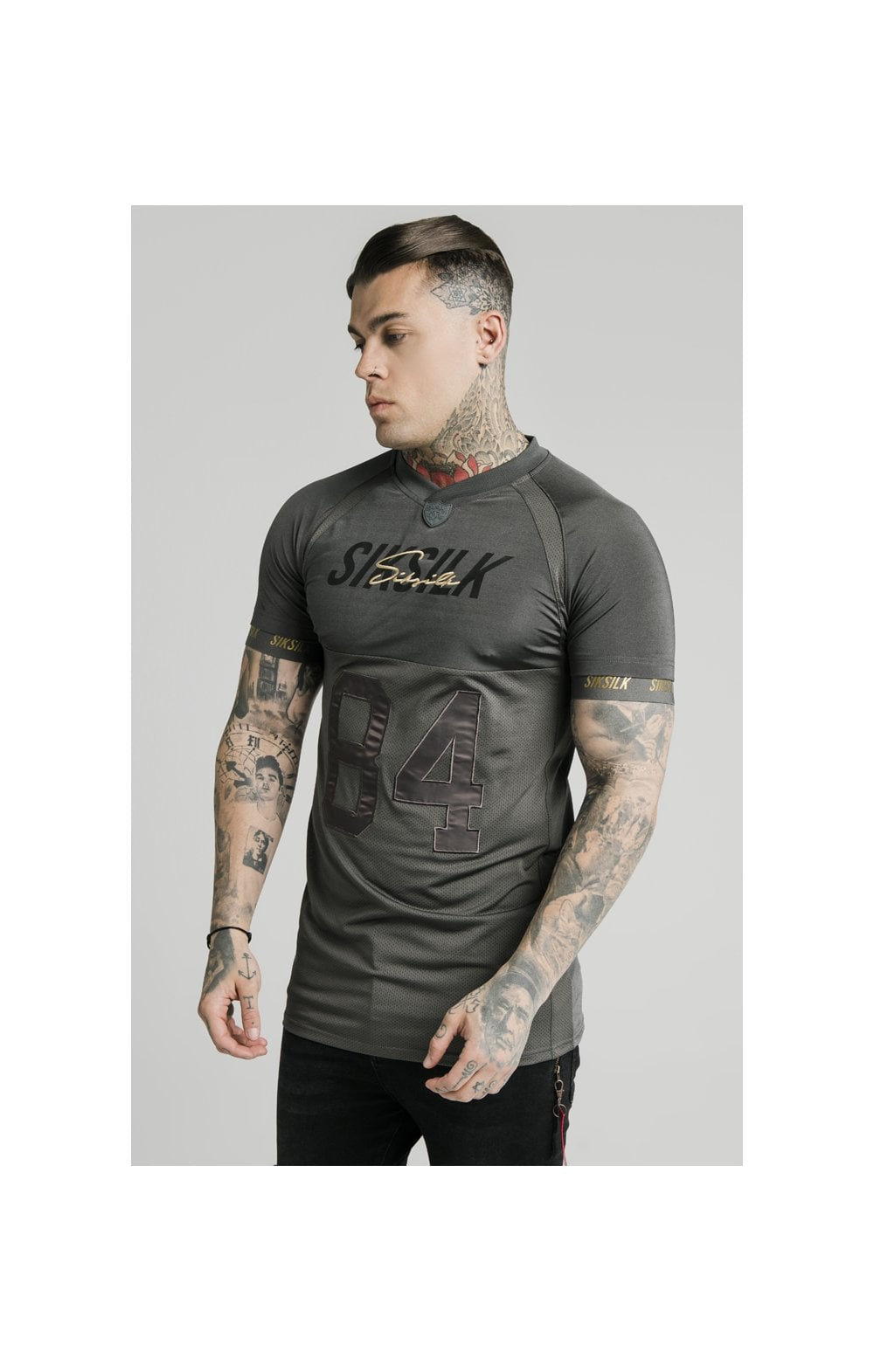 Load image into Gallery viewer, SikSilk Marbel Stretch Sports Tee - Dark Grey (1)
