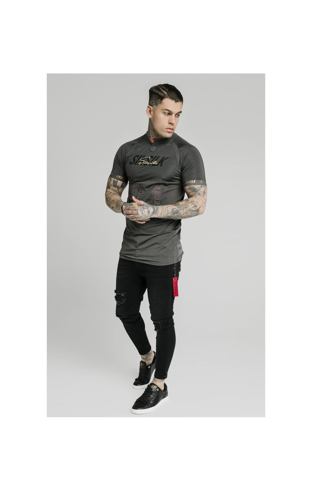 Load image into Gallery viewer, SikSilk Marbel Stretch Sports Tee - Dark Grey (2)