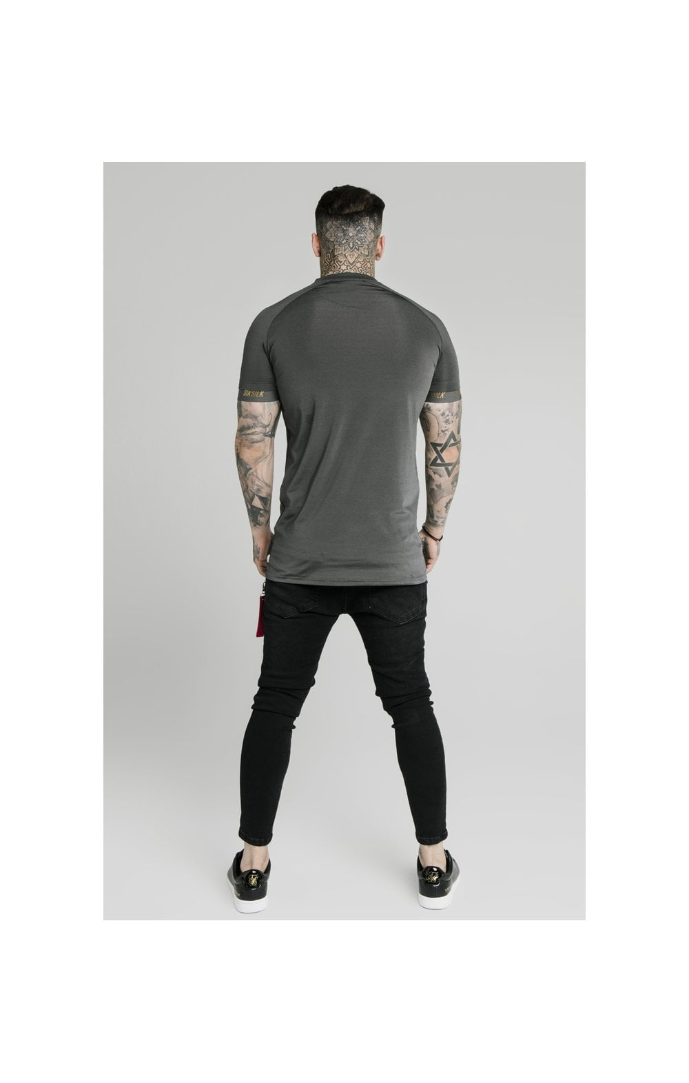Load image into Gallery viewer, SikSilk Marbel Stretch Sports Tee - Dark Grey (3)