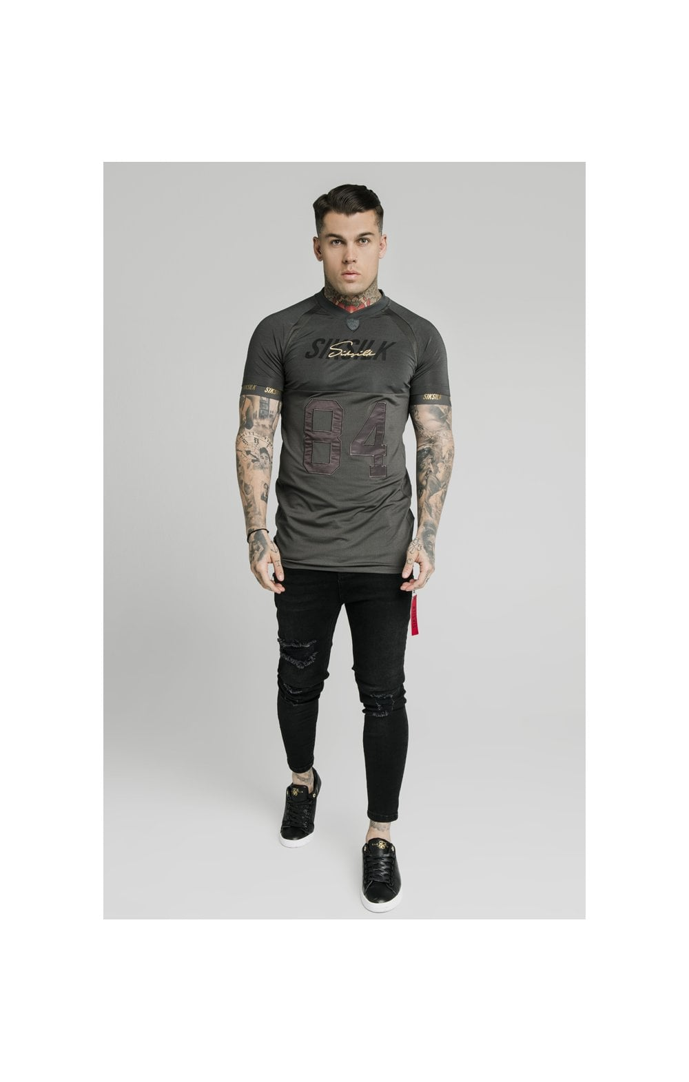Load image into Gallery viewer, SikSilk Marbel Stretch Sports Tee - Dark Grey (4)