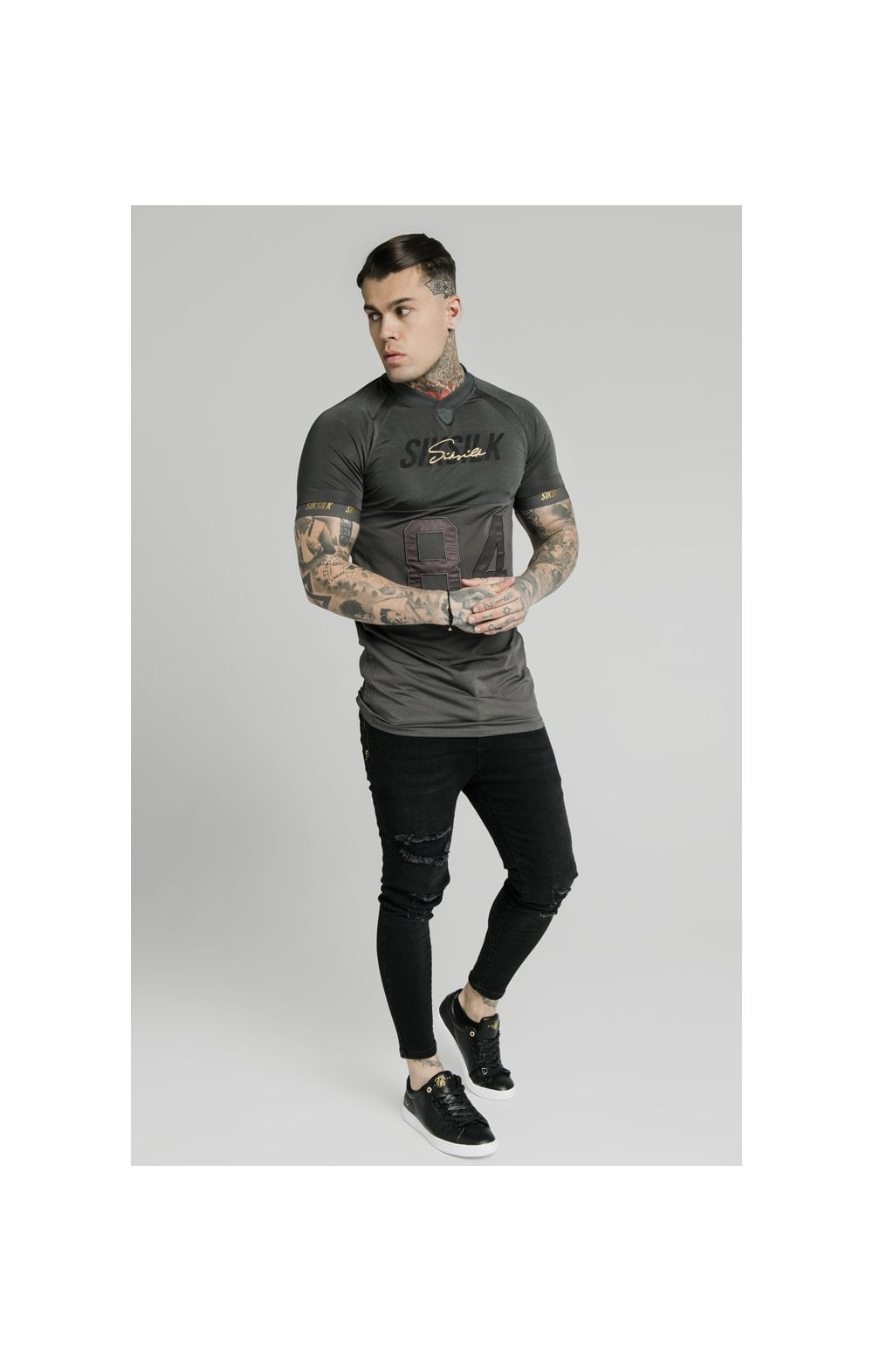 Load image into Gallery viewer, SikSilk Marbel Stretch Sports Tee - Dark Grey (5)