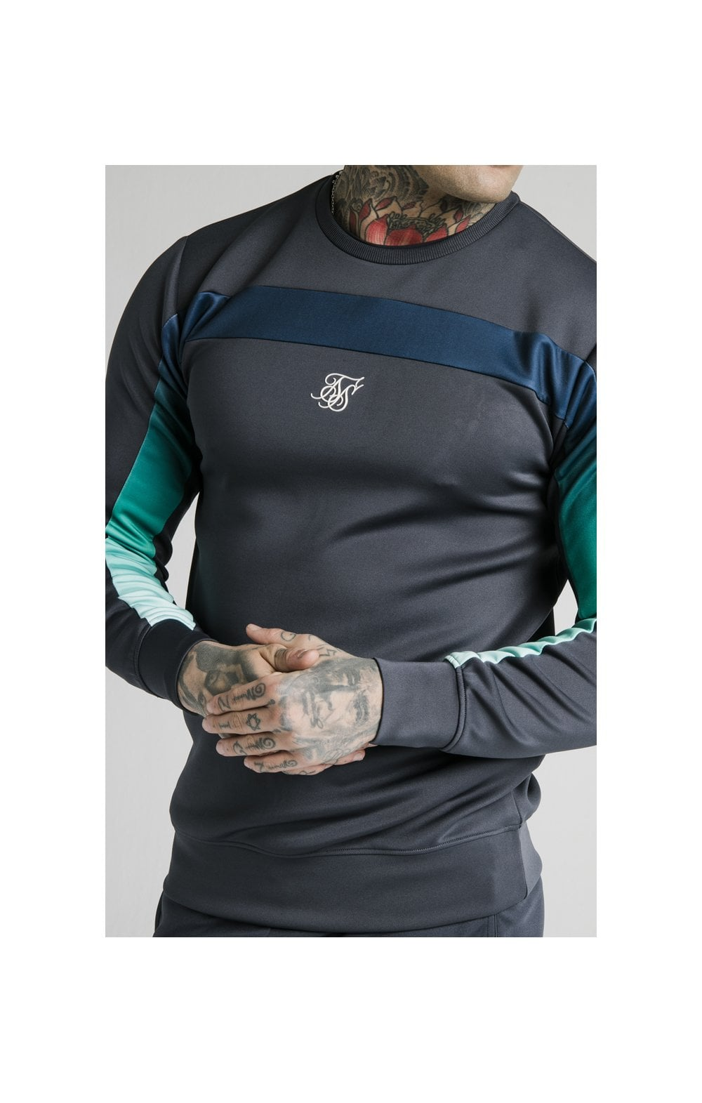 SikSilk L/S Tri-Fade Panel Sweater- Navy Pacific Fade