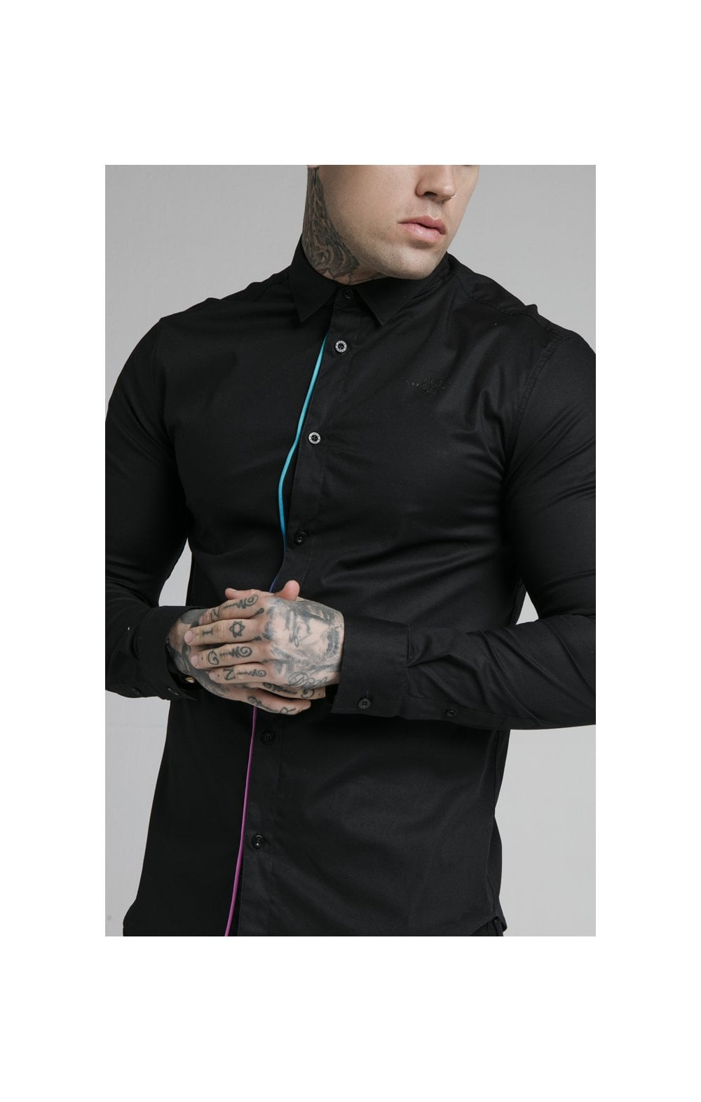 Load image into Gallery viewer, SikSilk L/S Fade Piping Shirt - Black & Neon Fade